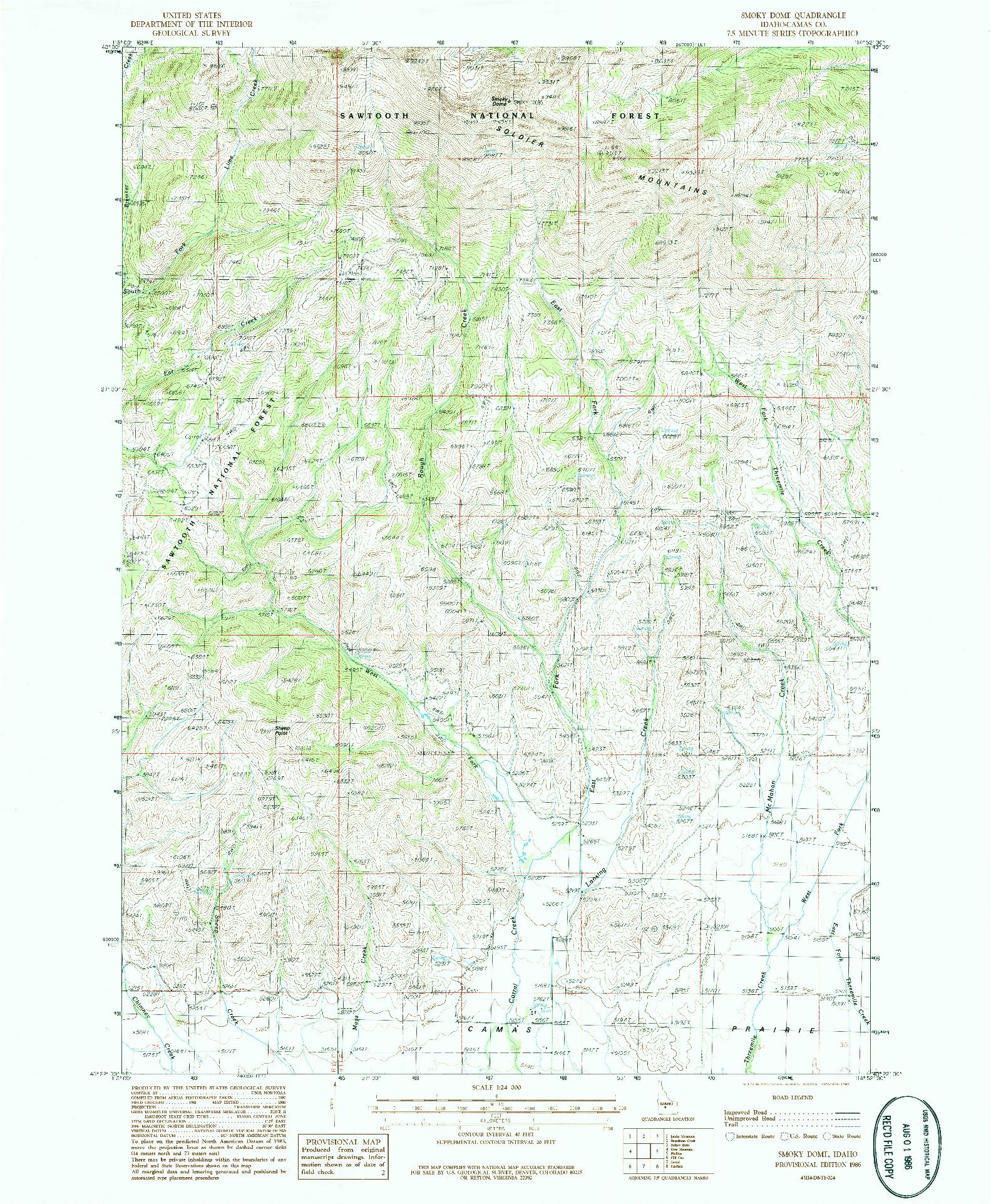 USGS 1:24000-SCALE QUADRANGLE FOR SMOKY DOME, ID 1986