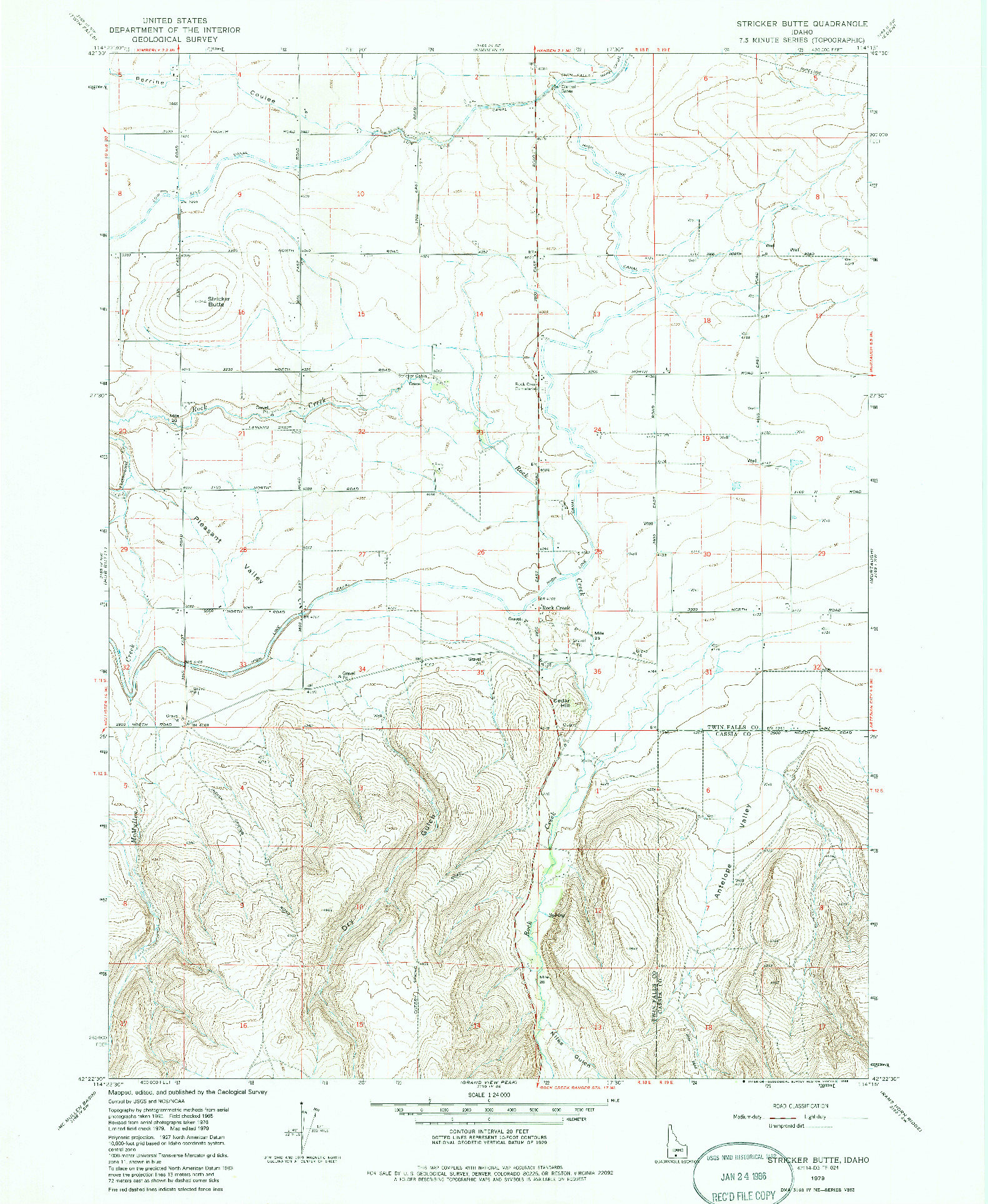USGS 1:24000-SCALE QUADRANGLE FOR STRICKER BUTTE, ID 1979