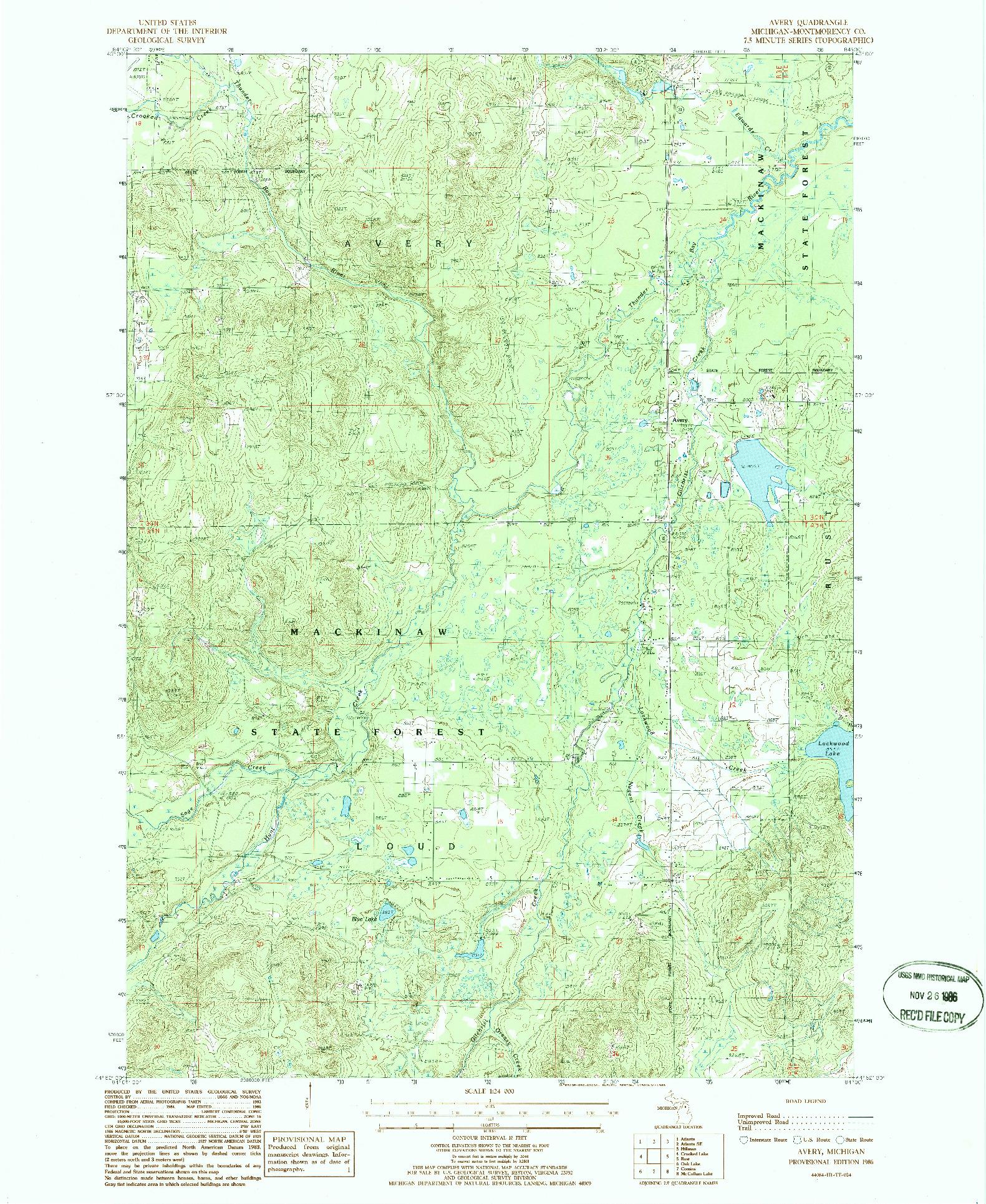 USGS 1:24000-SCALE QUADRANGLE FOR AVERY, MI 1986