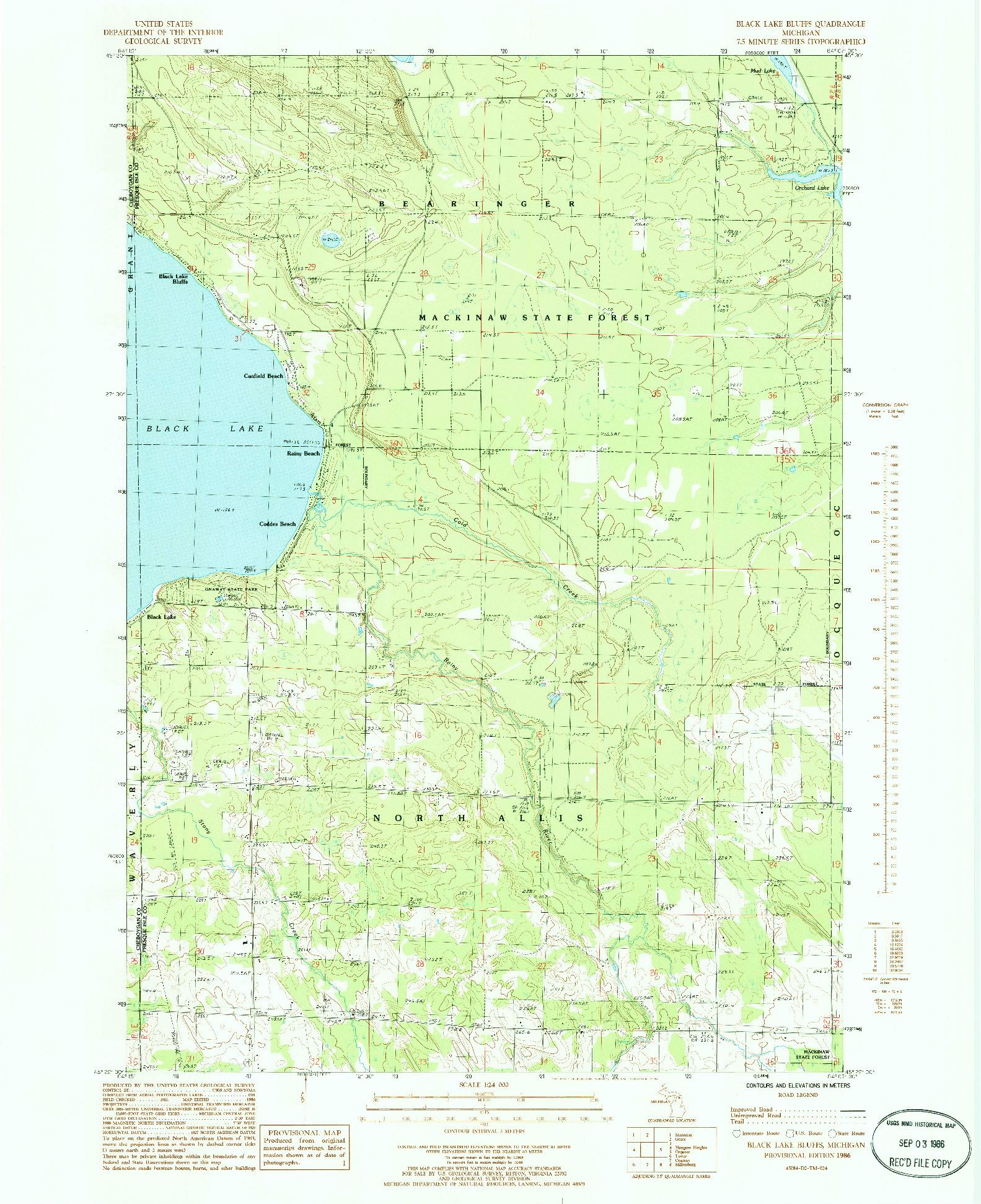 USGS 1:24000-SCALE QUADRANGLE FOR BLACK LAKE BLUFFS, MI 1986