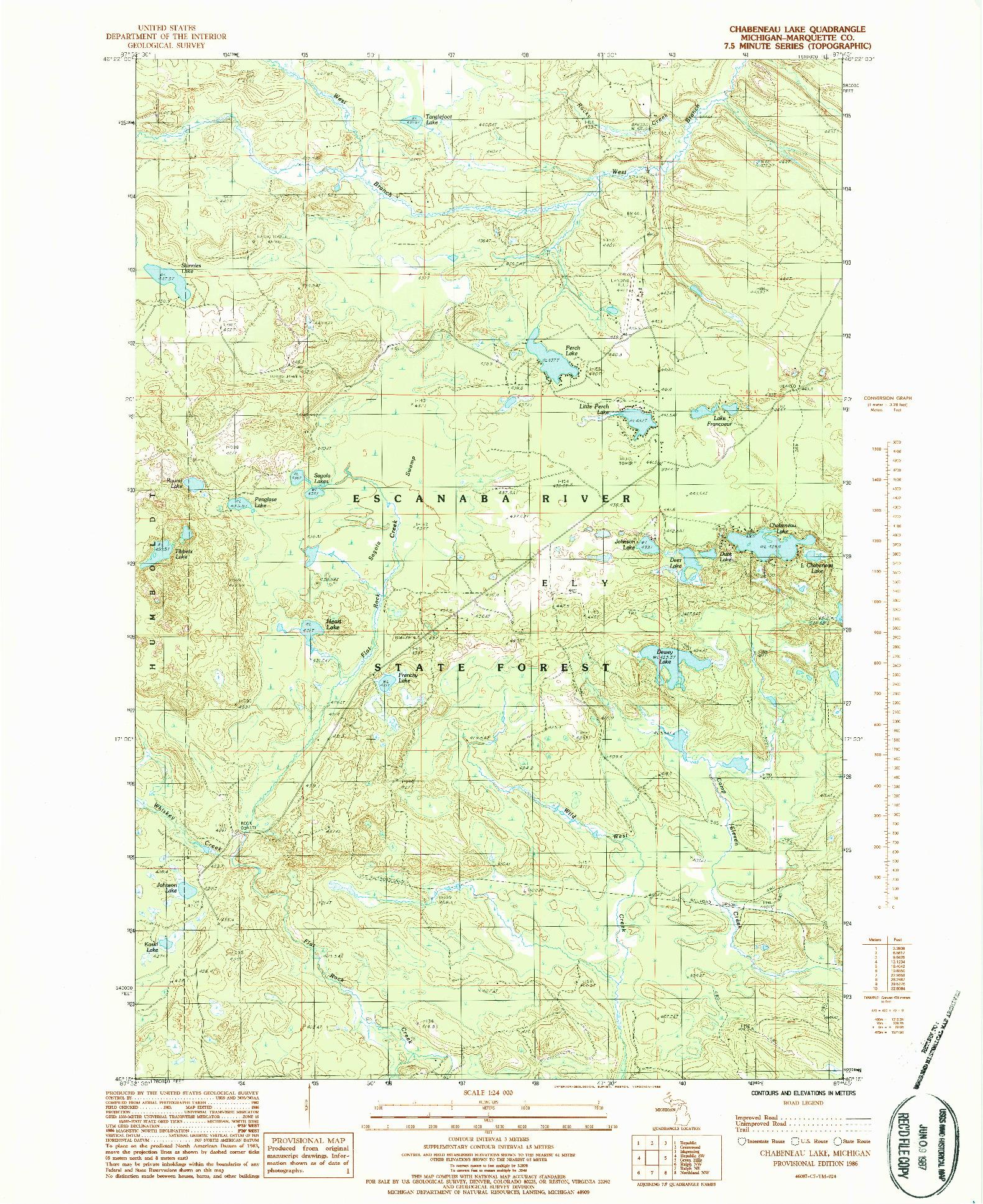 USGS 1:24000-SCALE QUADRANGLE FOR CHABENEAU LAKE, MI 1986