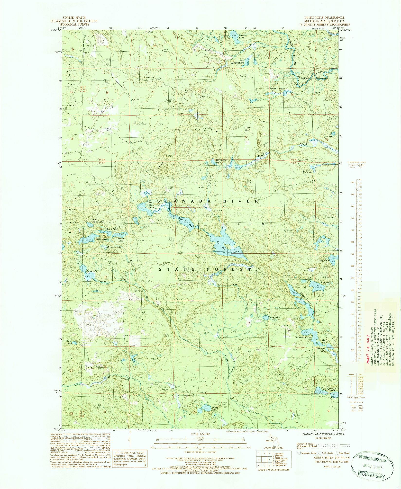 USGS 1:24000-SCALE QUADRANGLE FOR GREEN HILLS, MI 1986