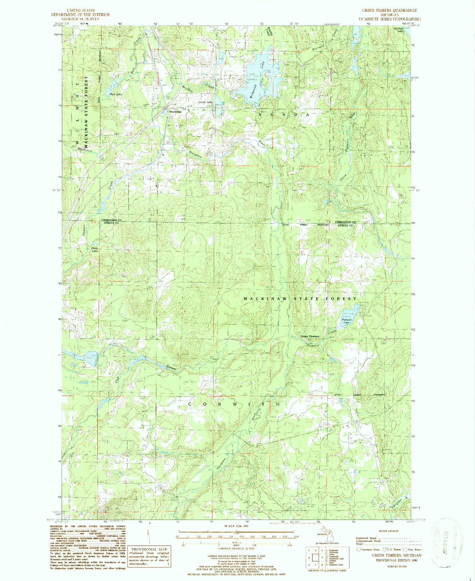 USGS 1:24000-SCALE QUADRANGLE FOR GREEN TIMBERS, MI 1986