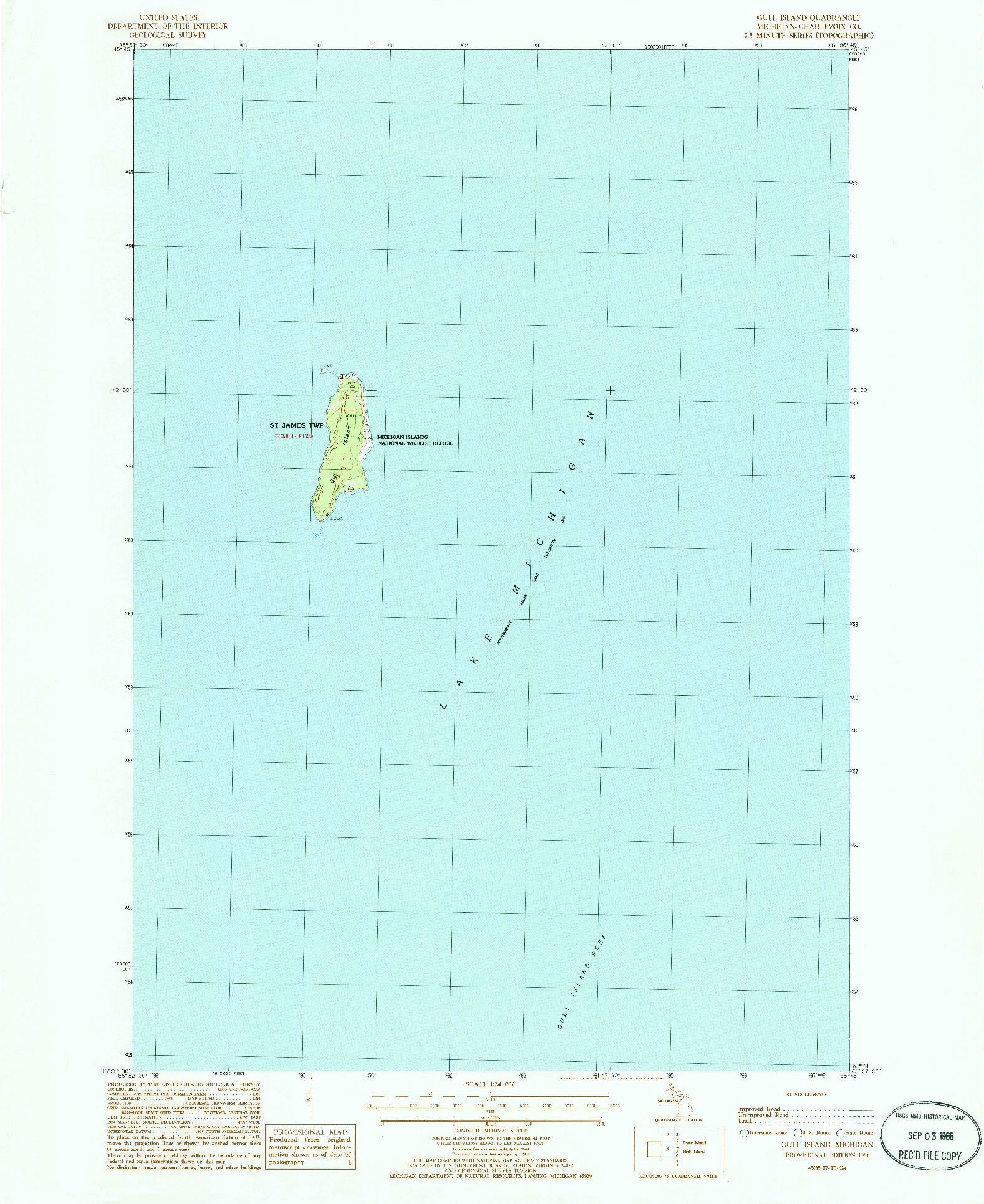 USGS 1:24000-SCALE QUADRANGLE FOR GULL ISLAND, MI 1986
