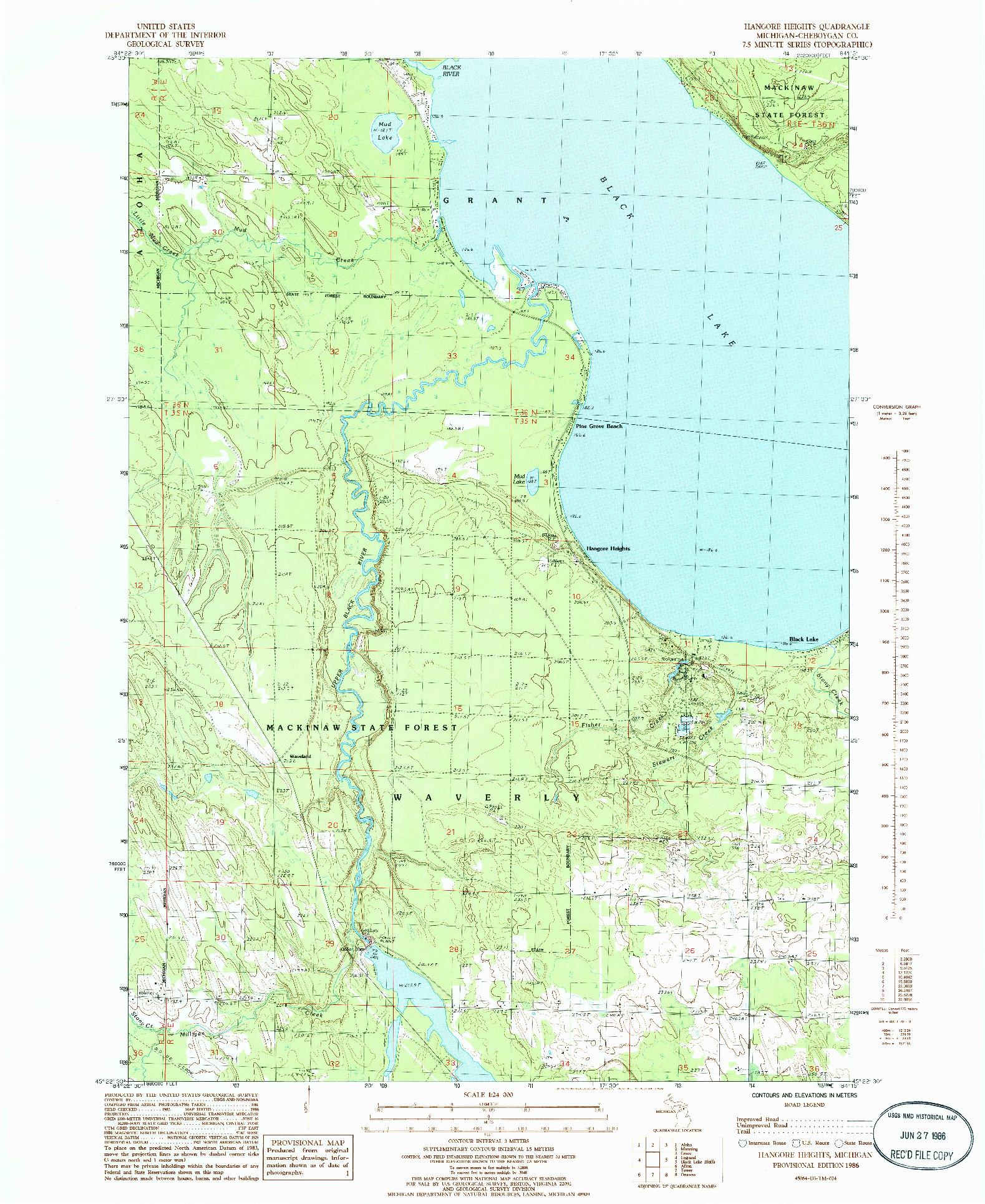 USGS 1:24000-SCALE QUADRANGLE FOR HANGORE HEIGHTS, MI 1986