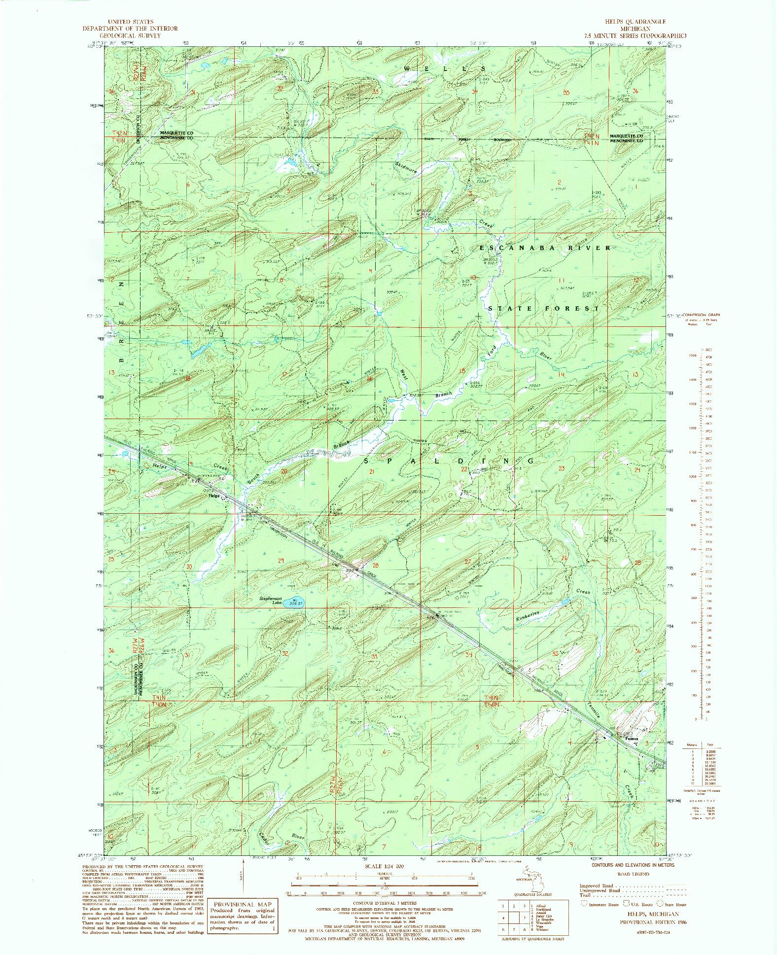 USGS 1:24000-SCALE QUADRANGLE FOR HELENA, MI 1986