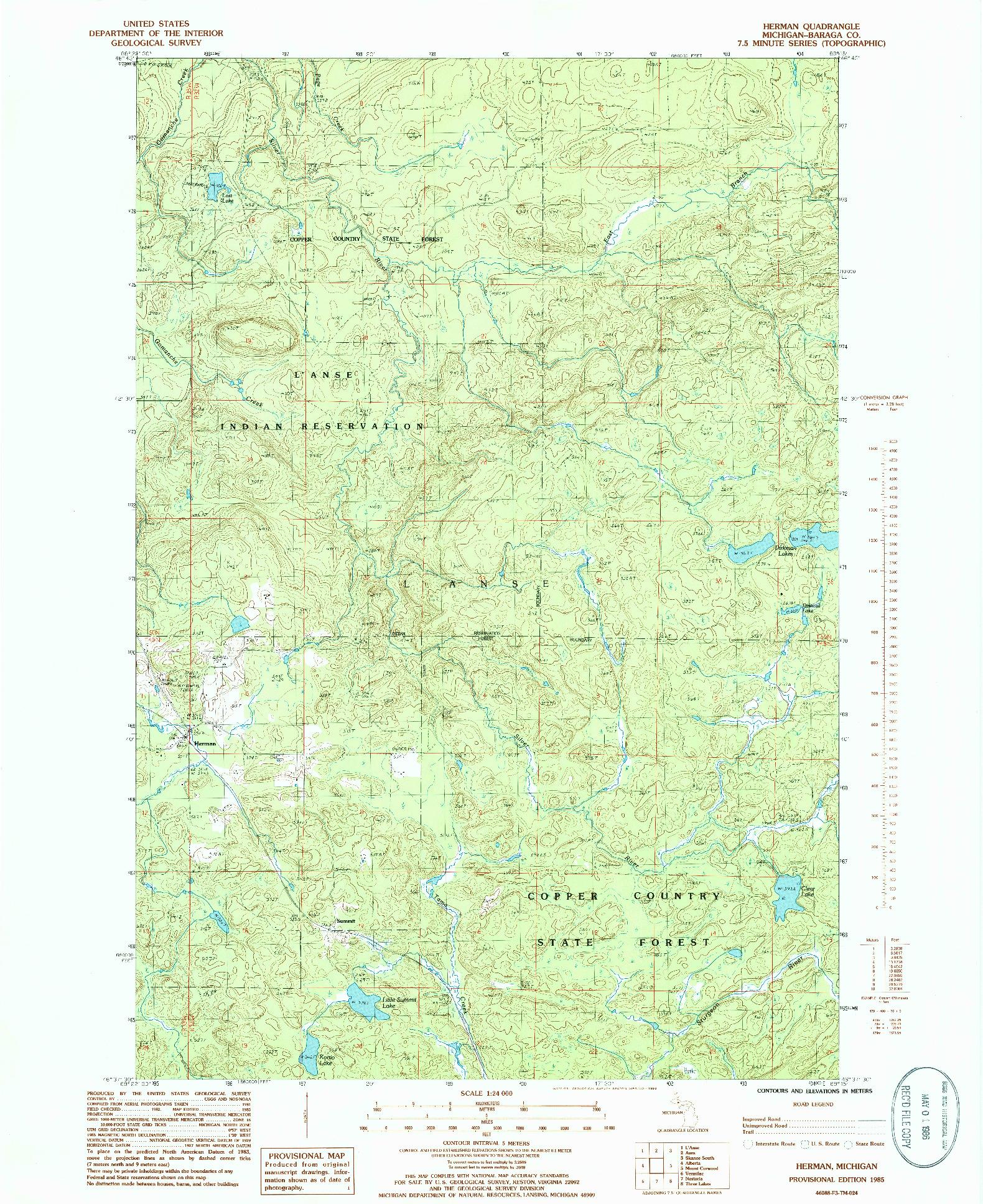 USGS 1:24000-SCALE QUADRANGLE FOR HERMAN, MI 1985