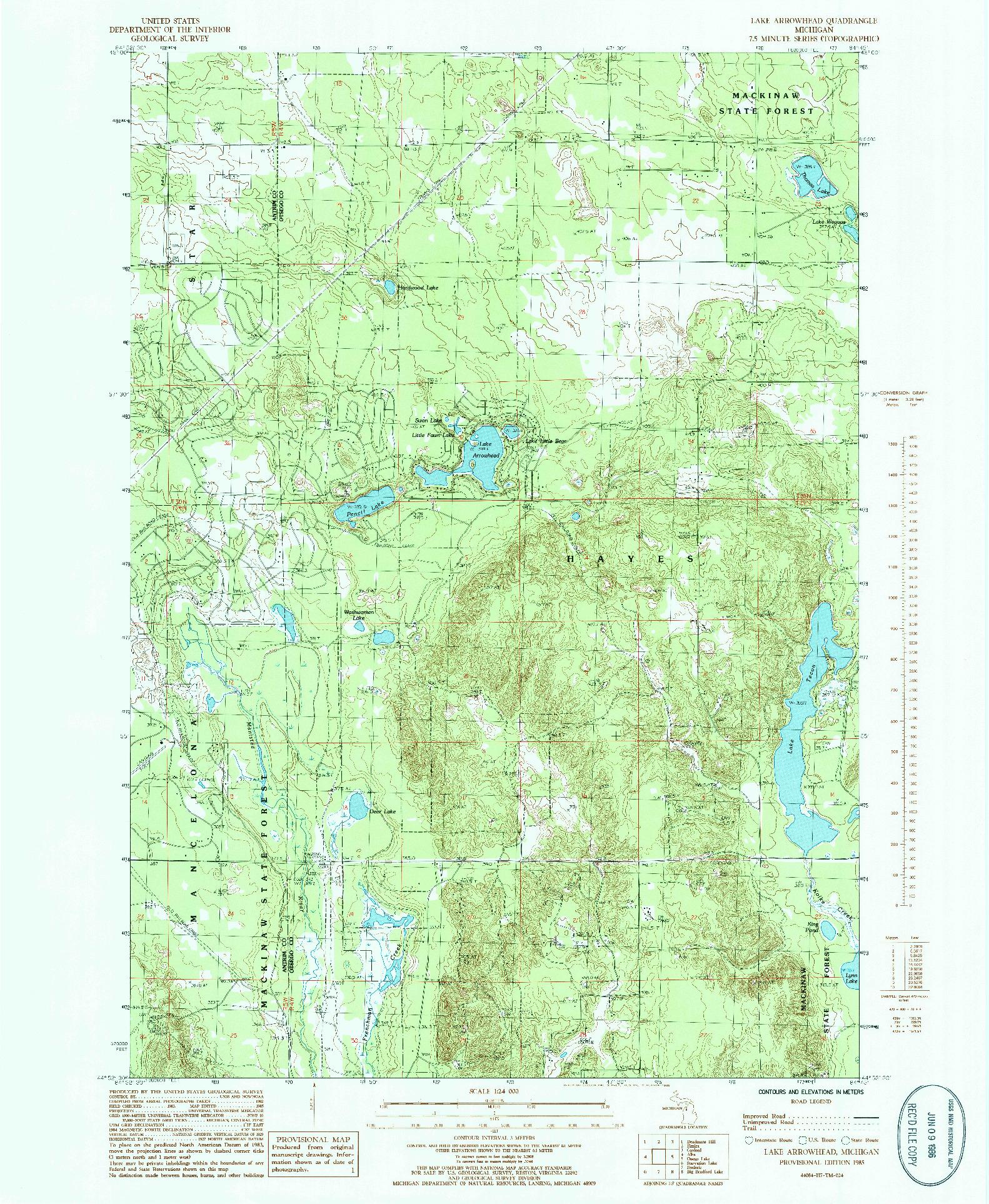 USGS 1:24000-SCALE QUADRANGLE FOR LAKE ARROWHEAD, MI 1985