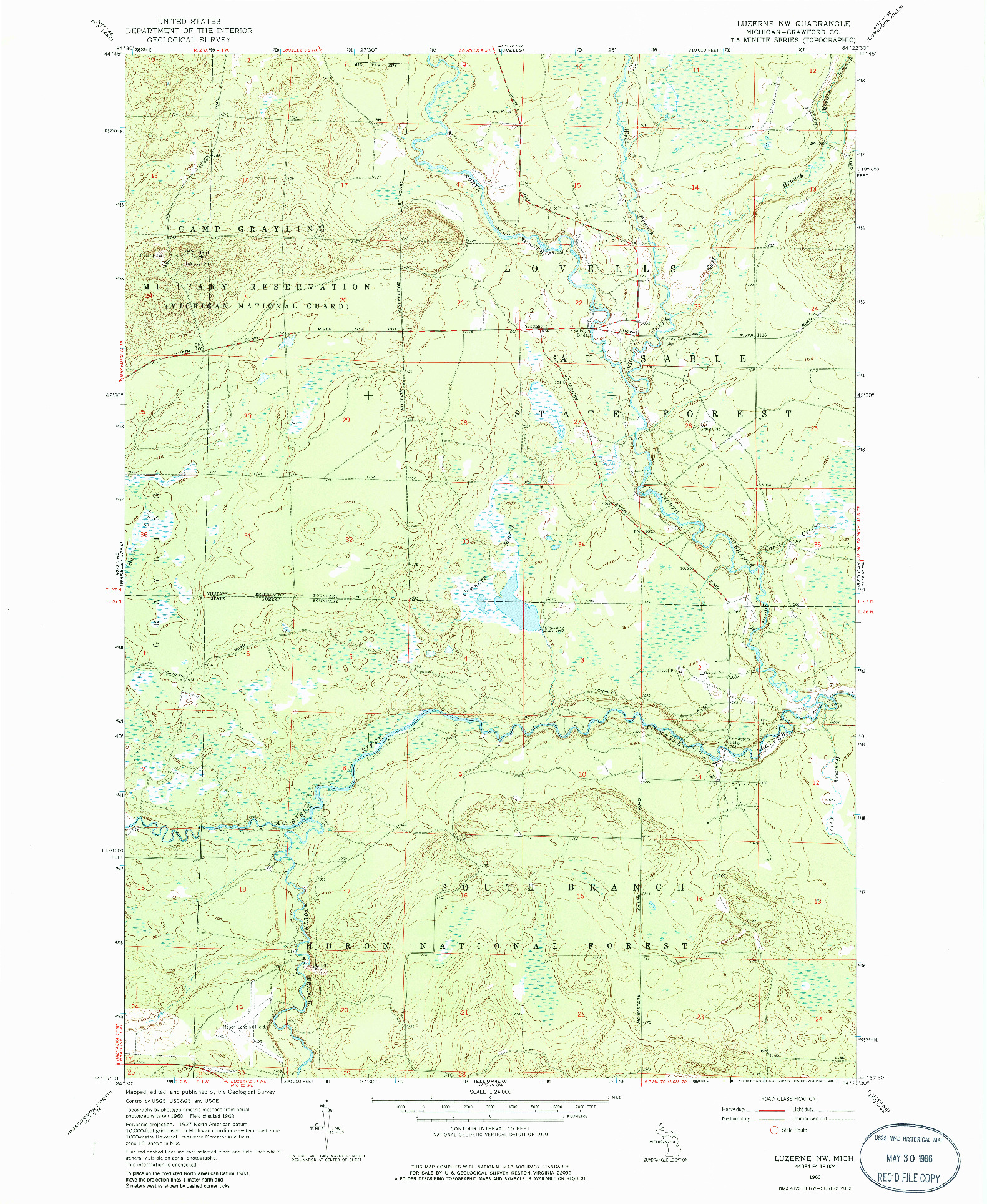 USGS 1:24000-SCALE QUADRANGLE FOR LUZERNE NW, MI 1963