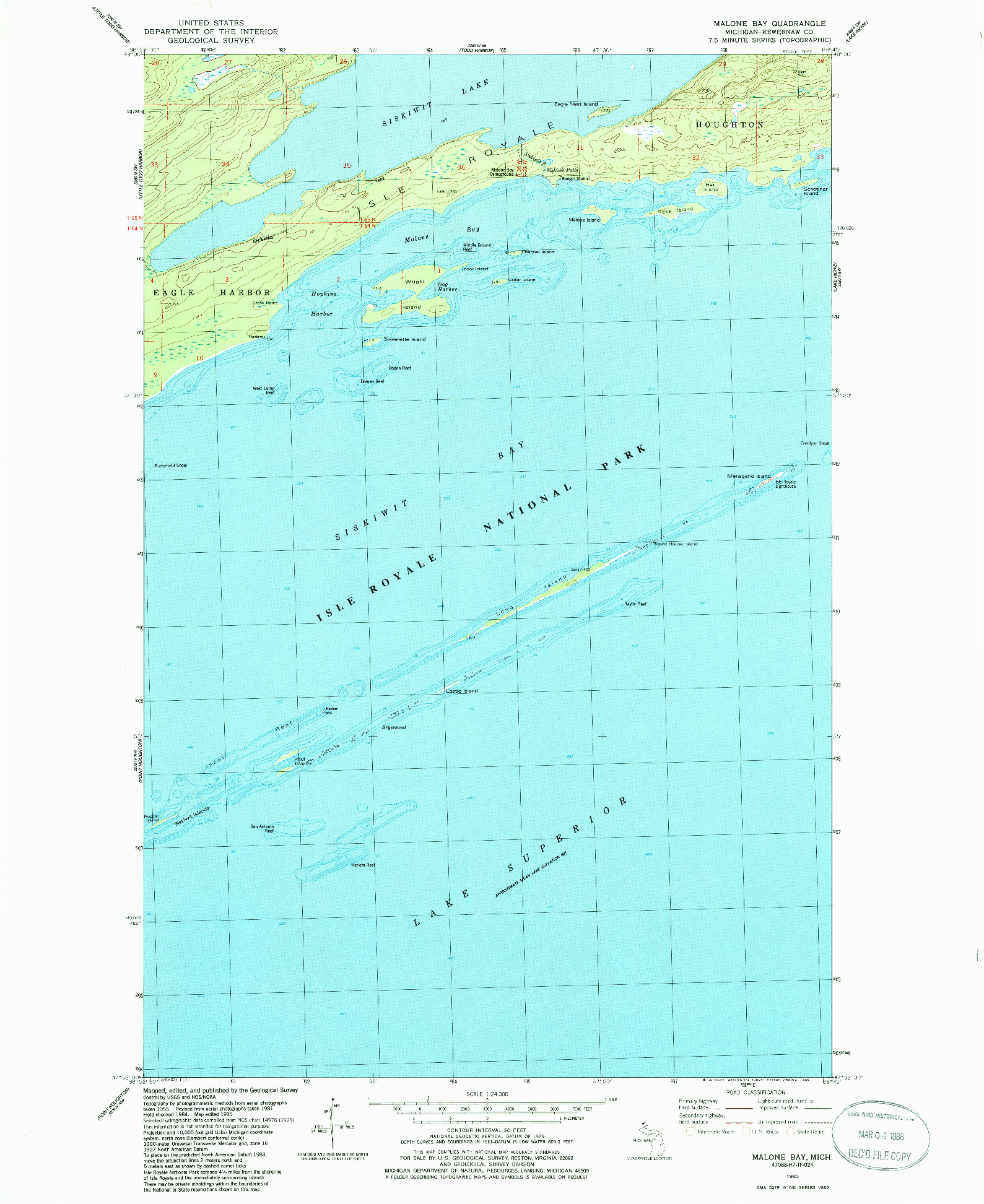 USGS 1:24000-SCALE QUADRANGLE FOR MALONE BAY, MI 1985