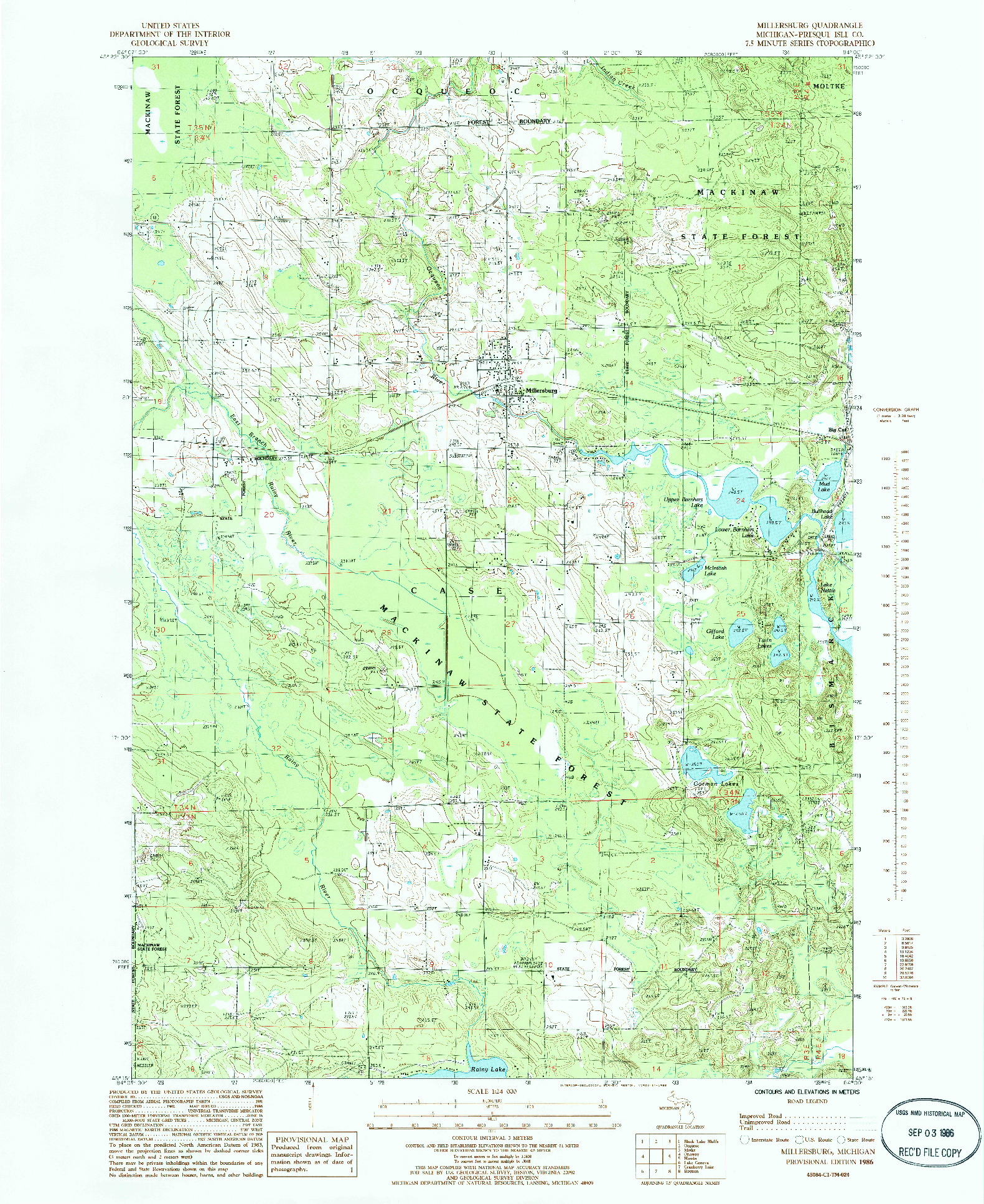 USGS 1:24000-SCALE QUADRANGLE FOR MILLERSBURG, MI 1986