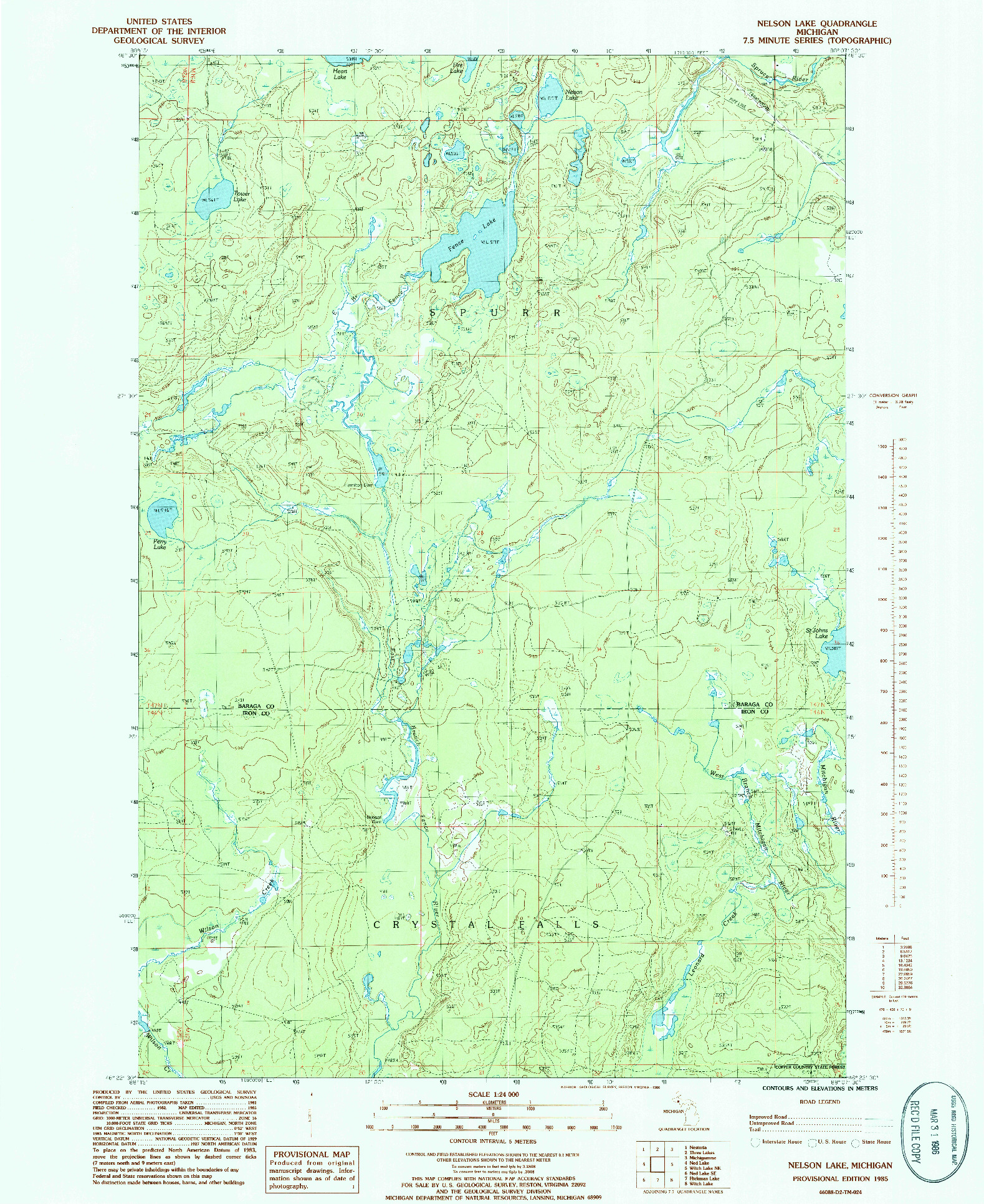 USGS 1:24000-SCALE QUADRANGLE FOR NELSON LAKE, MI 1985