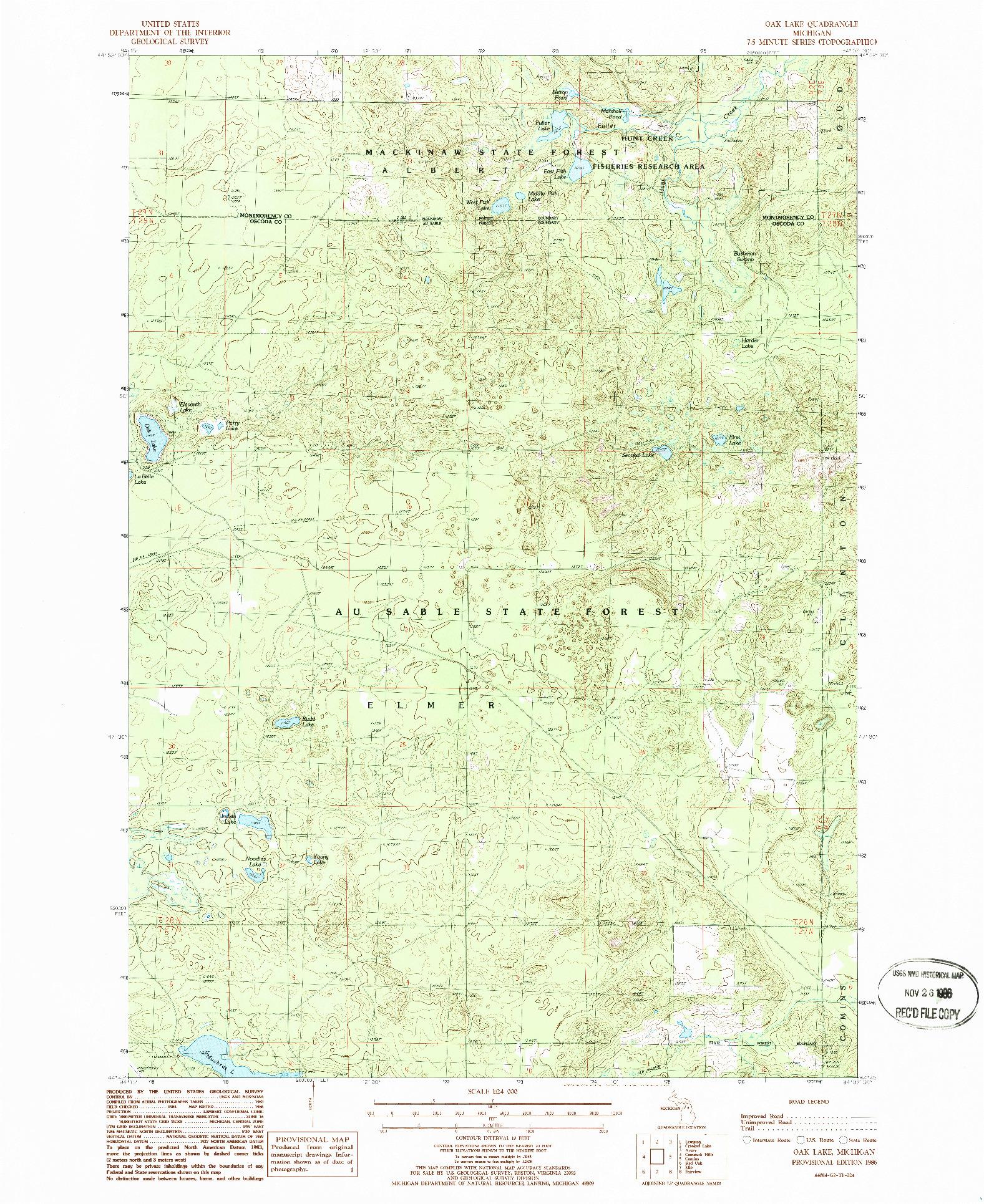 USGS 1:24000-SCALE QUADRANGLE FOR OAK LAKE, MI 1986