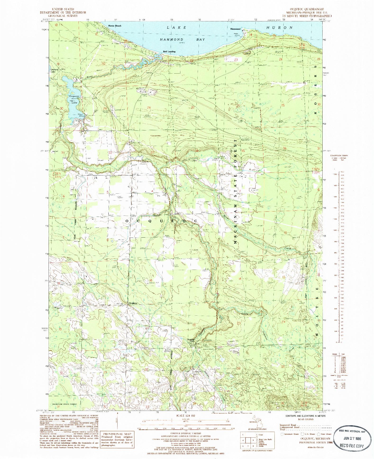 USGS 1:24000-SCALE QUADRANGLE FOR OCQUEOC, MI 1986
