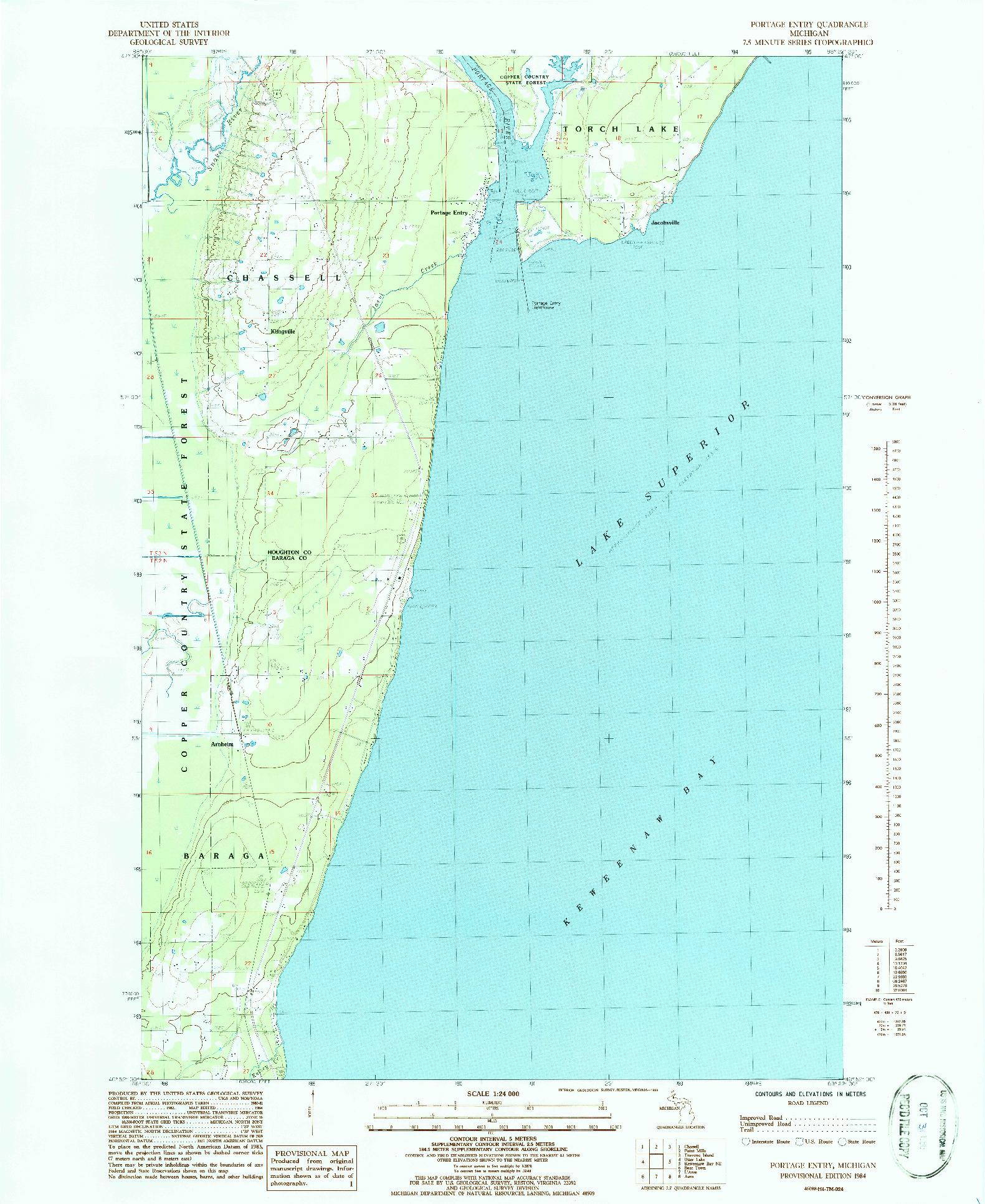 USGS 1:24000-SCALE QUADRANGLE FOR PORTAGE ENTRY, MI 1984