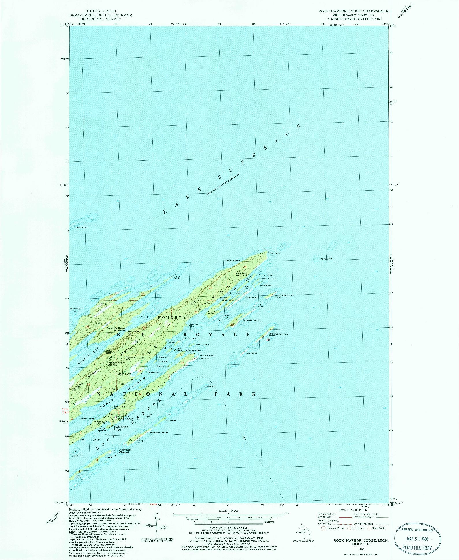USGS 1:24000-SCALE QUADRANGLE FOR ROCK HARBOR LODGE, MI 1985