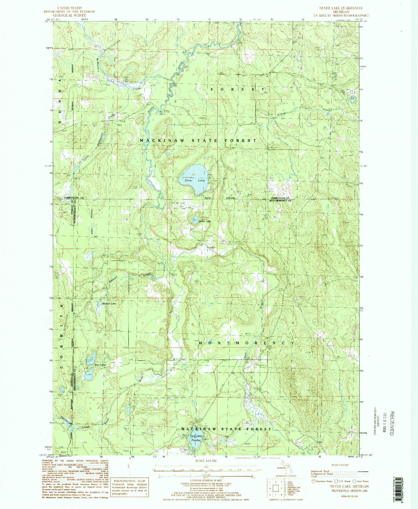 USGS 1:24000-SCALE QUADRANGLE FOR SILVER LAKE, MI 1986