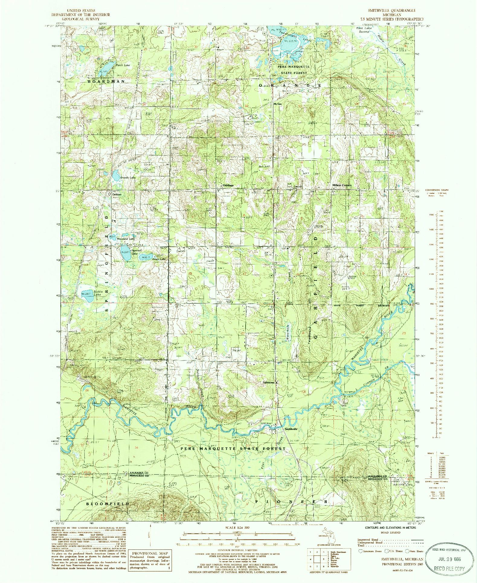 USGS 1:24000-SCALE QUADRANGLE FOR SMITHVILLE, MI 1985