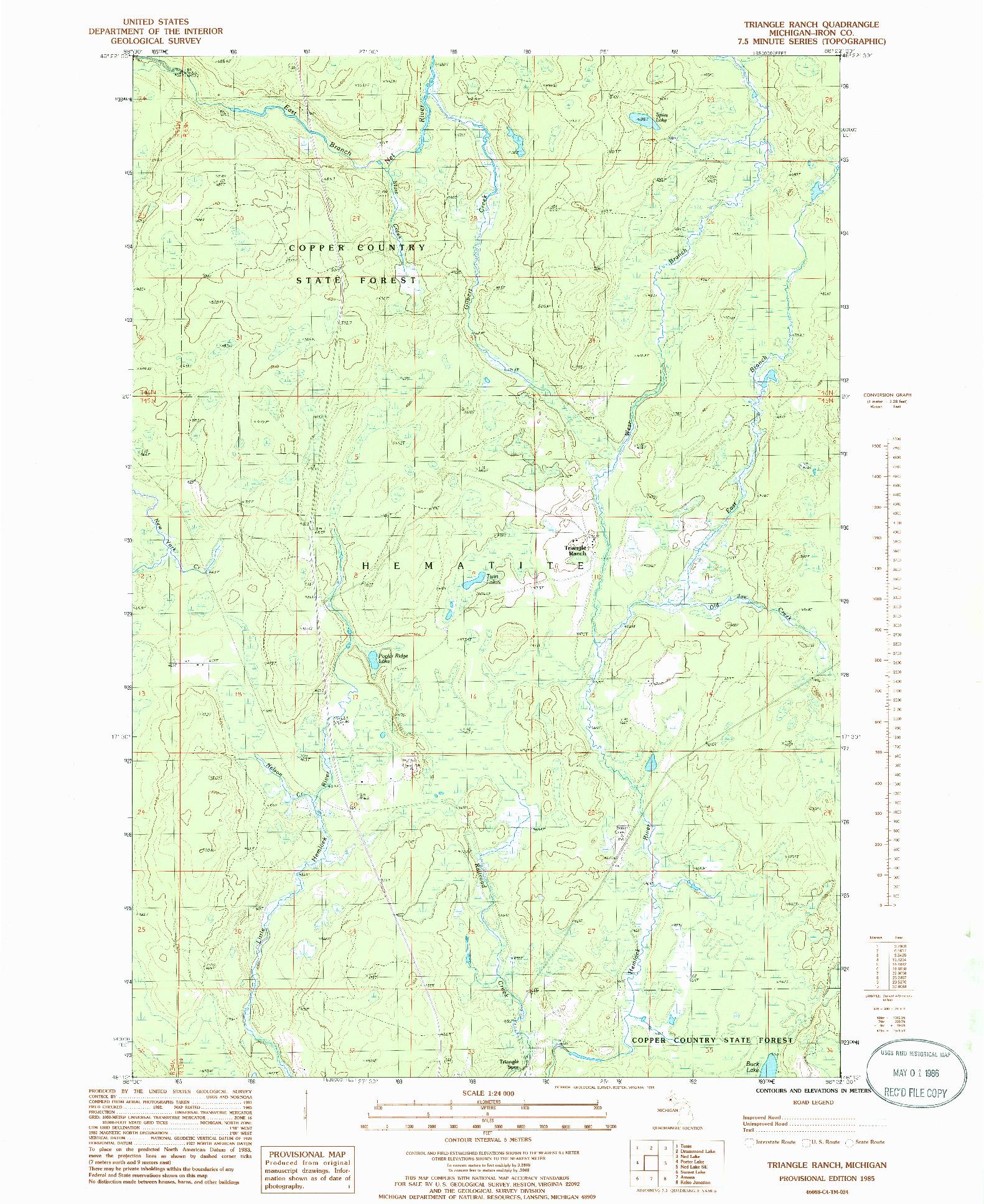 USGS 1:24000-SCALE QUADRANGLE FOR TRIANGLE RANCH, MI 1985