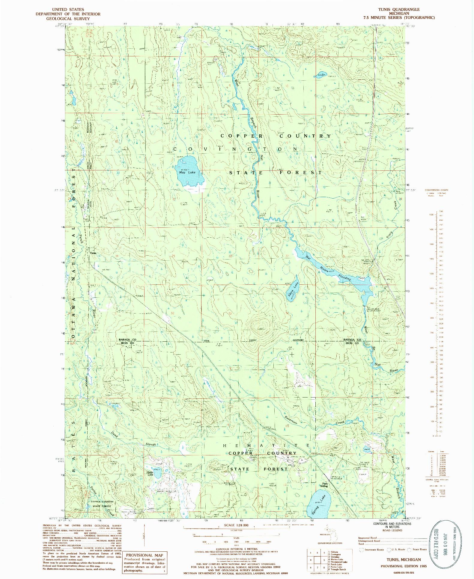 USGS 1:24000-SCALE QUADRANGLE FOR TUNIS, MI 1985