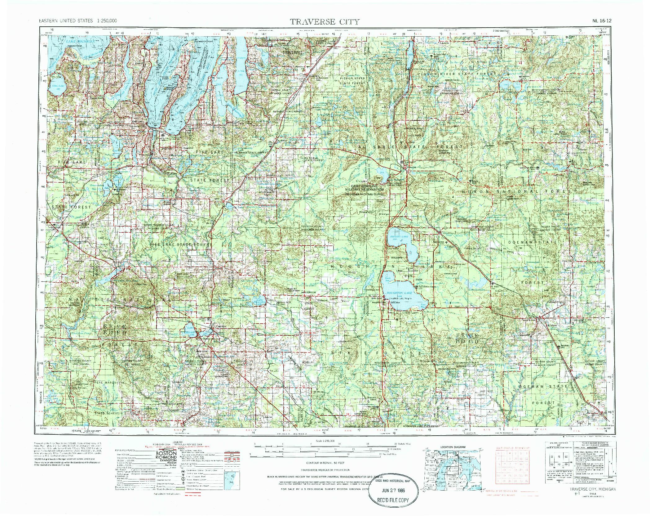 USGS 1:250000-SCALE QUADRANGLE FOR TRAVERSE CITY, MI 1954