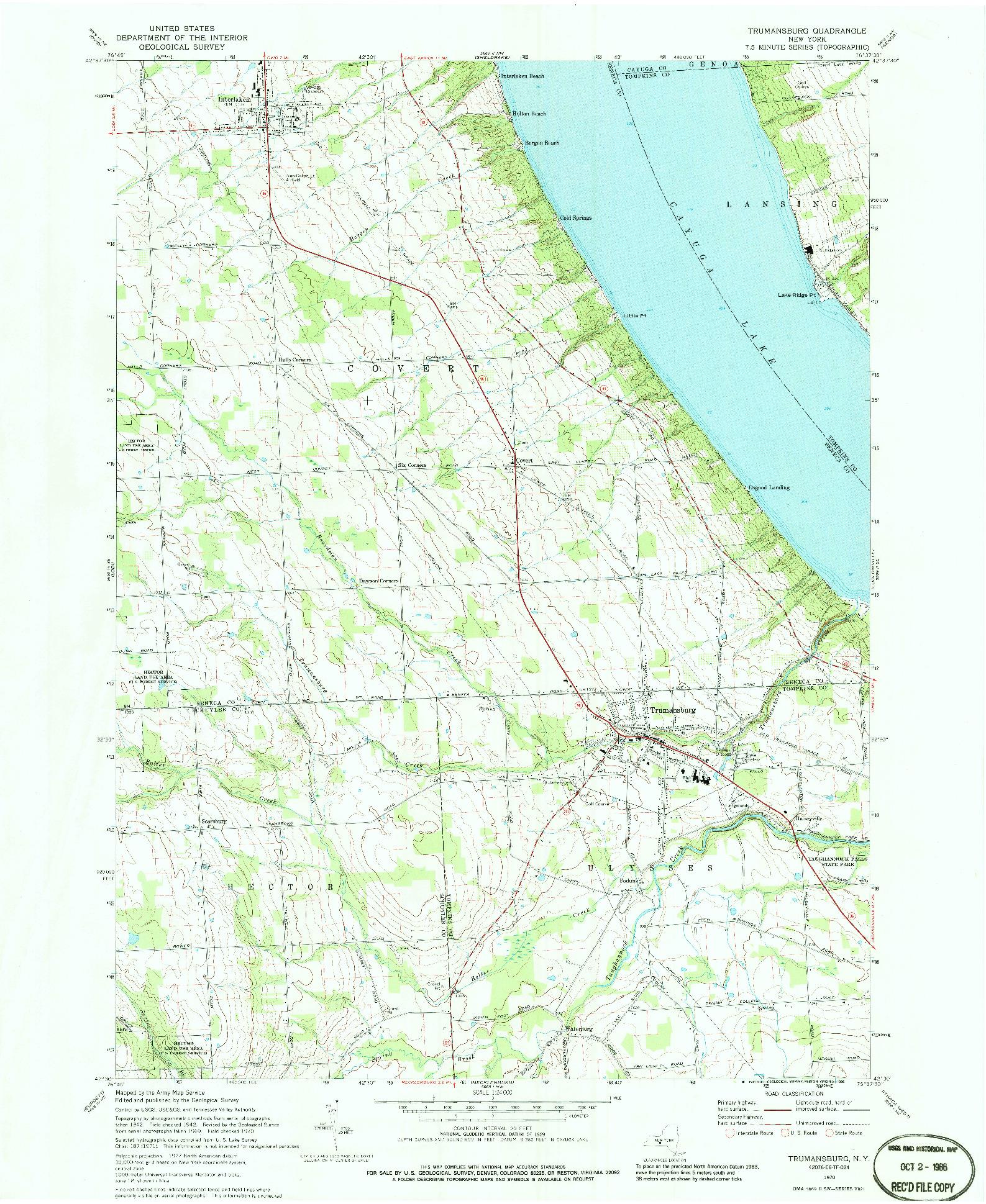 USGS 1:24000-SCALE QUADRANGLE FOR TRUMANSBURG, NY 1970