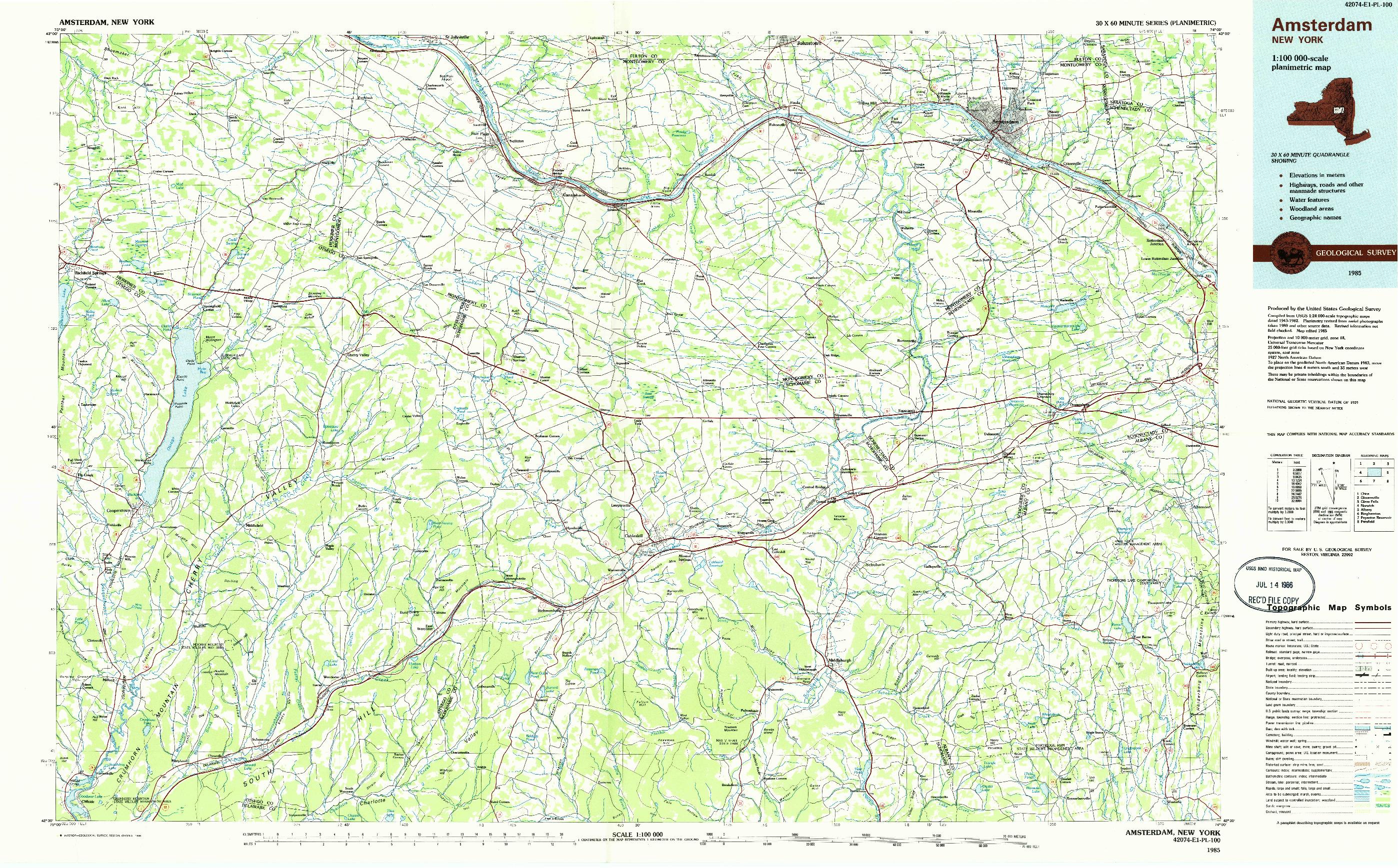 USGS 1:100000-SCALE QUADRANGLE FOR AMSTERDAM, NY 1985