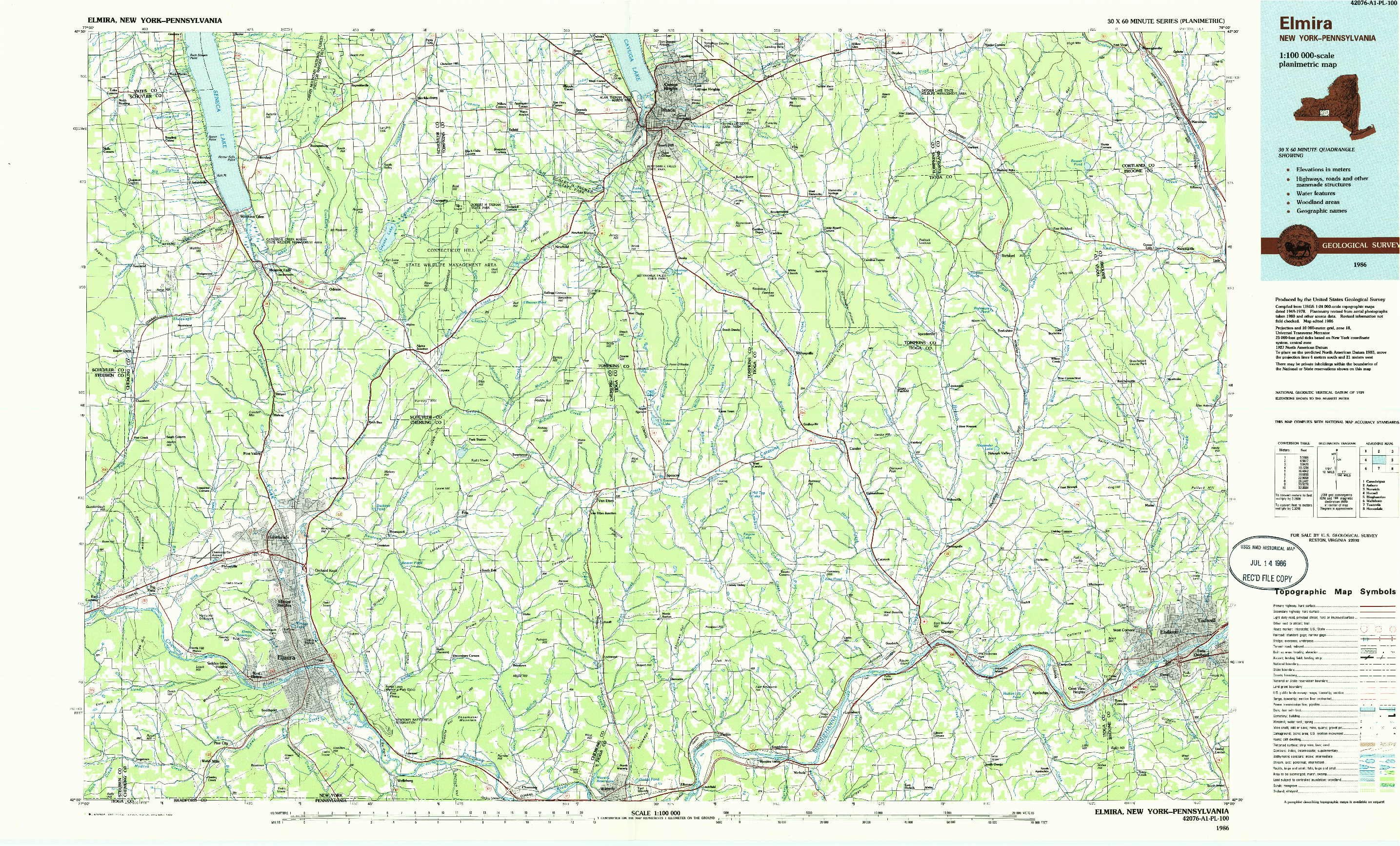 USGS 1:100000-SCALE QUADRANGLE FOR ELMIRA, NY 1986