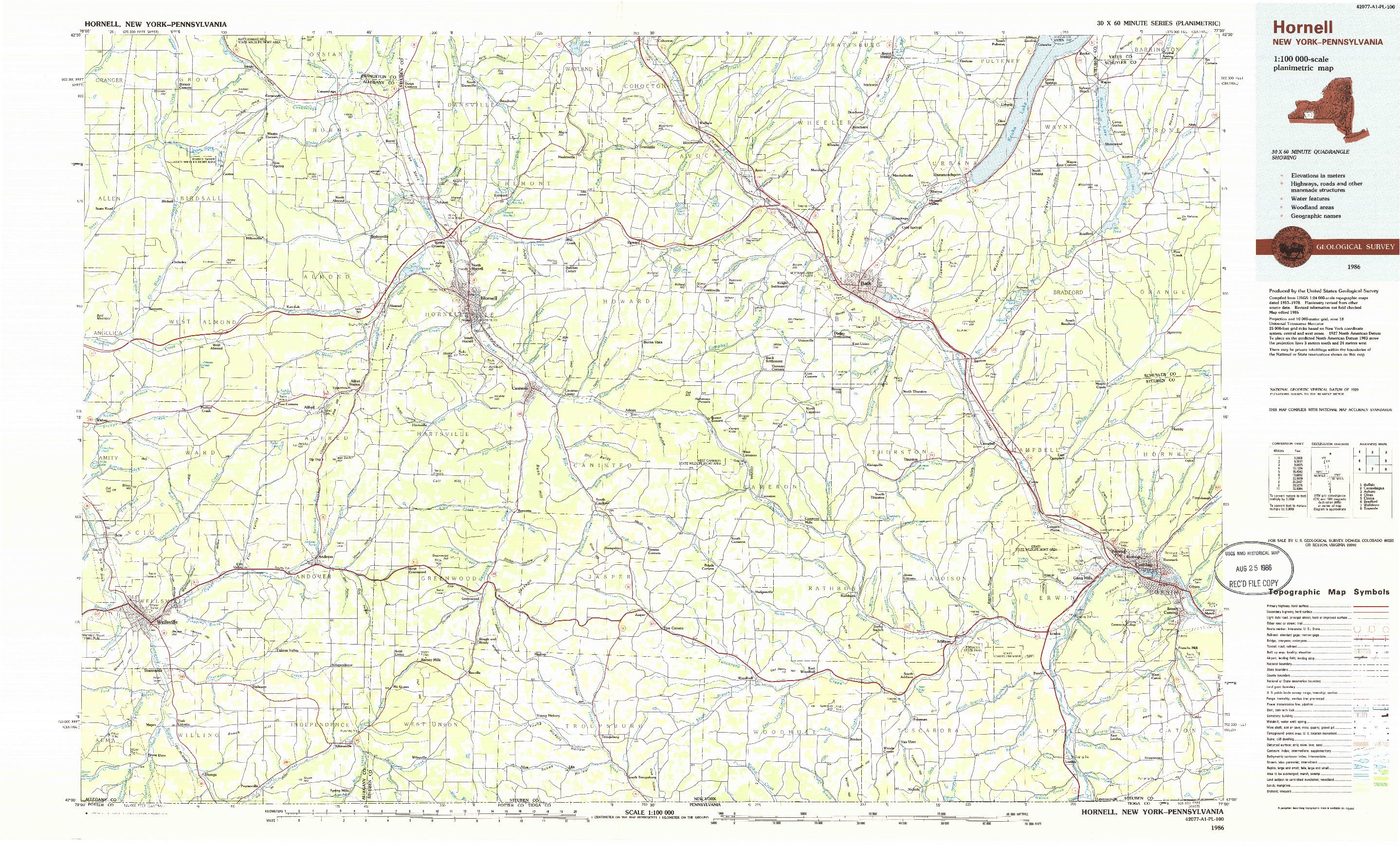 USGS 1:100000-SCALE QUADRANGLE FOR HORNELL, NY 1986