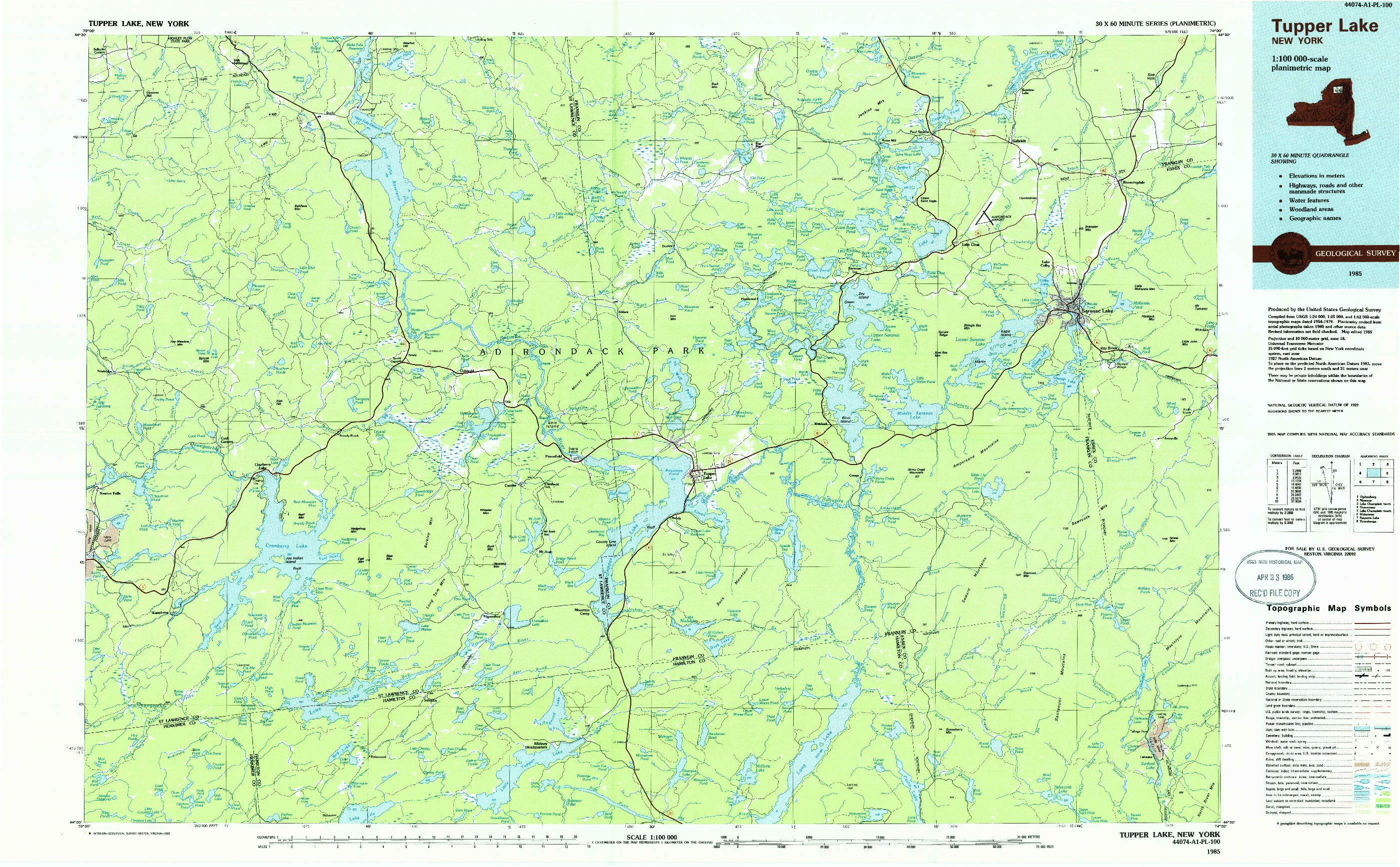 USGS 1:100000-SCALE QUADRANGLE FOR TUPPER LAKE, NY 1985