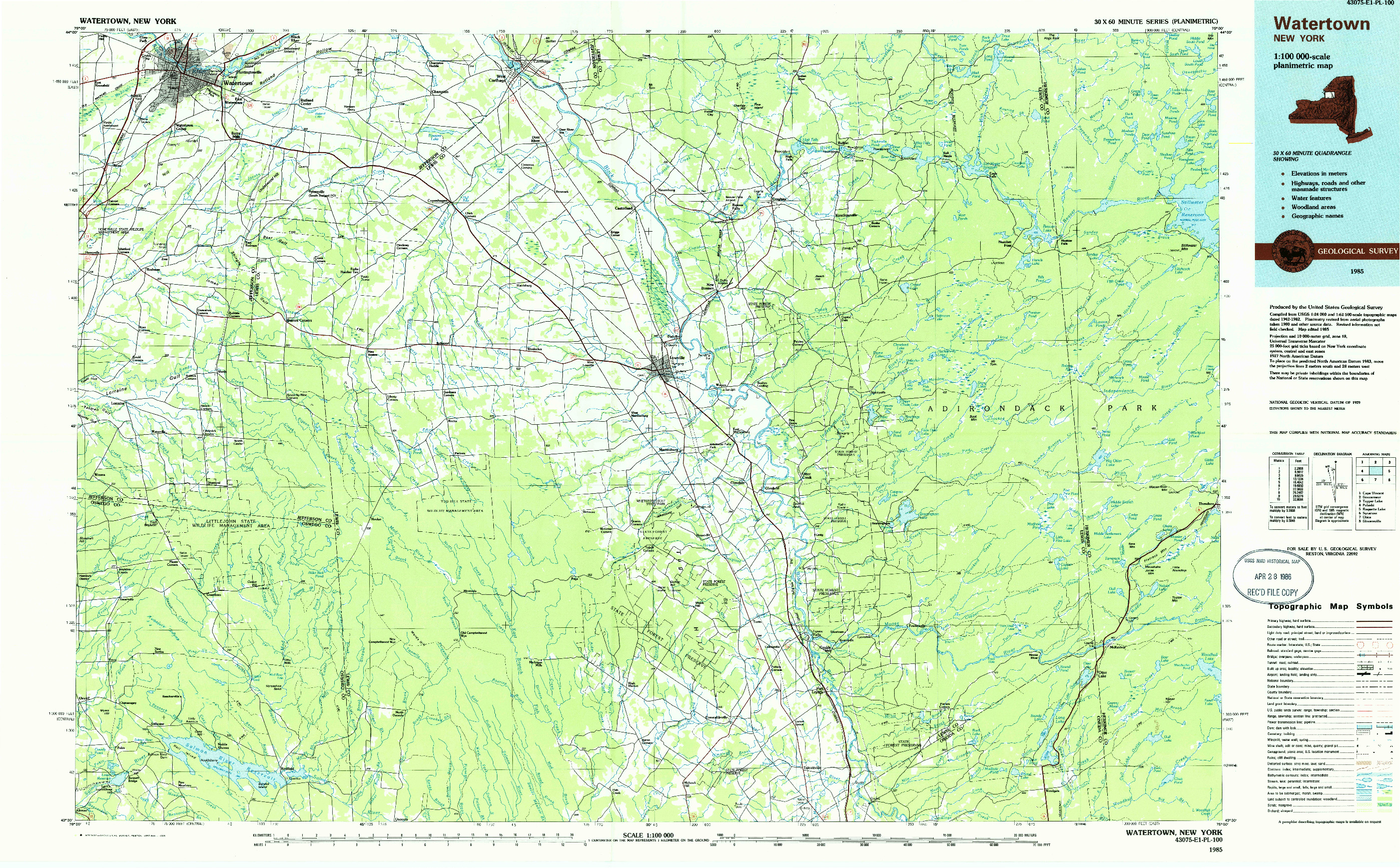 USGS 1:100000-SCALE QUADRANGLE FOR WATERTOWN, NY 1985