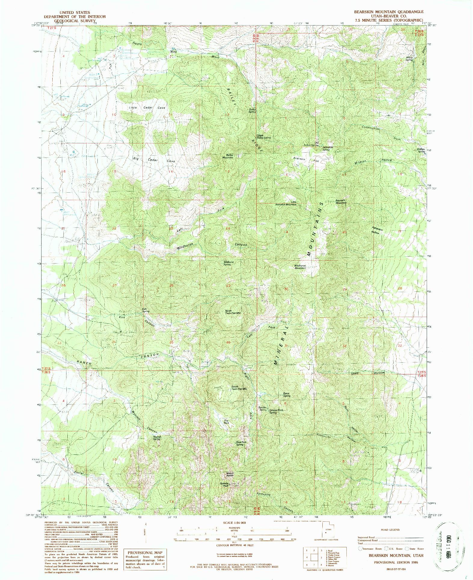 USGS 1:24000-SCALE QUADRANGLE FOR BEARSKIN MOUNTAIN, UT 1986