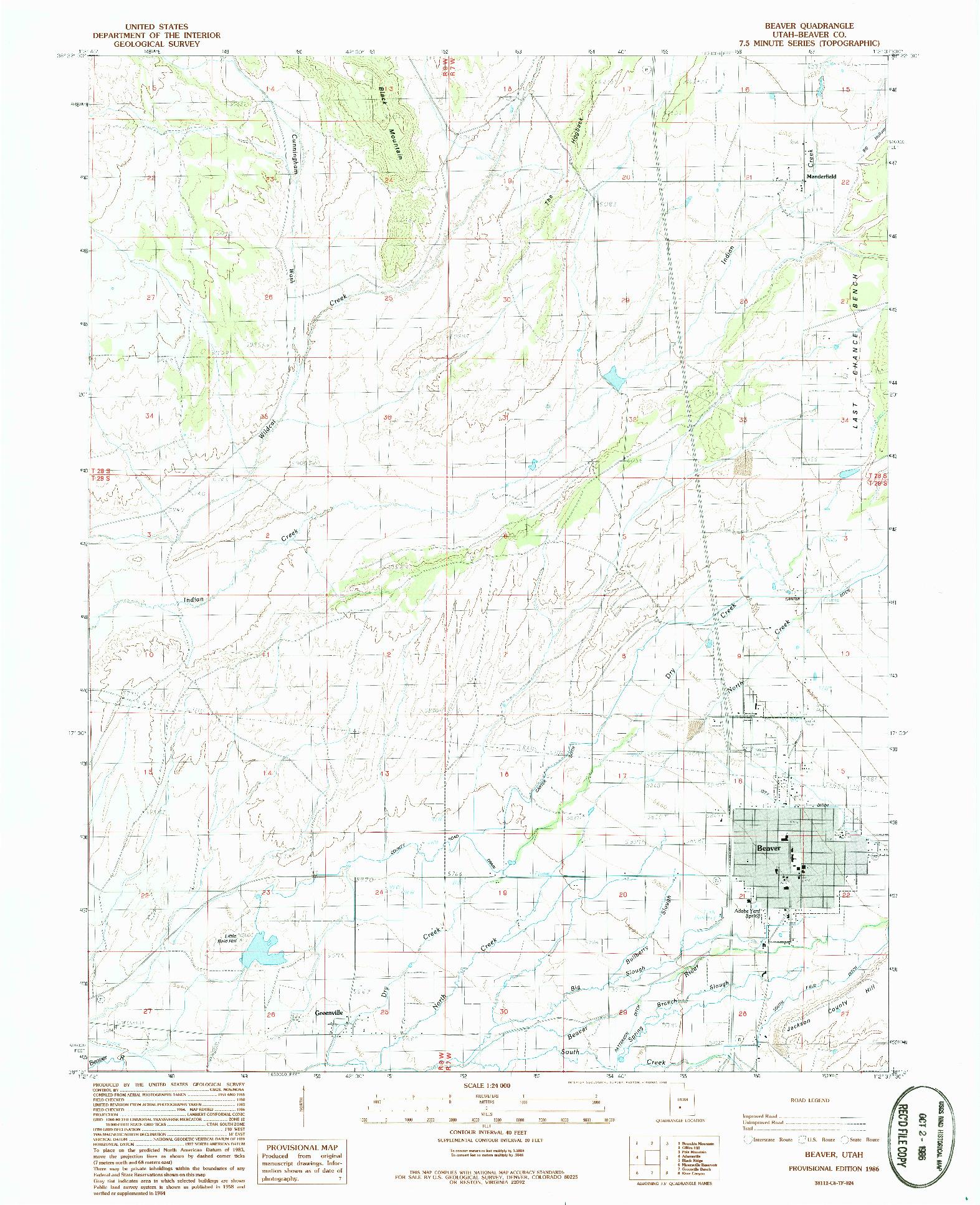 USGS 1:24000-SCALE QUADRANGLE FOR BEAVER, UT 1986