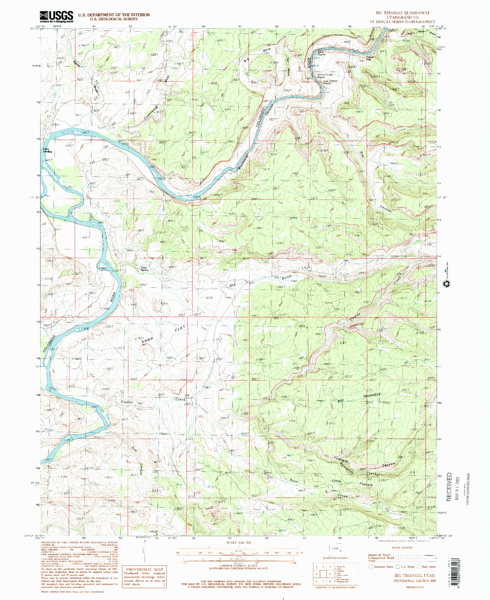 USGS 1:24000-SCALE QUADRANGLE FOR BIG TRIANGLE, UT 1985