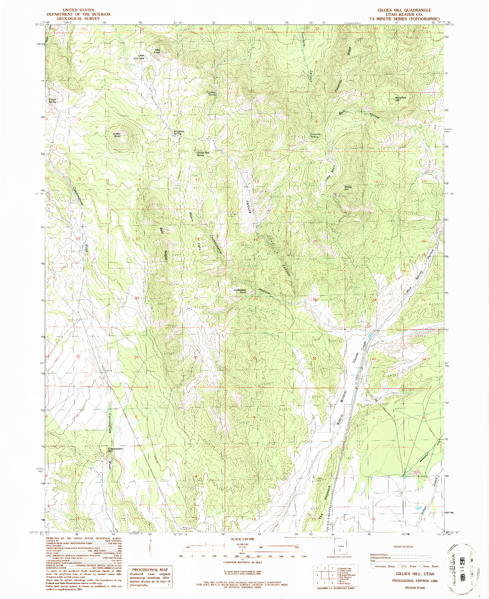 USGS 1:24000-SCALE QUADRANGLE FOR GILLIES HILL, UT 1986