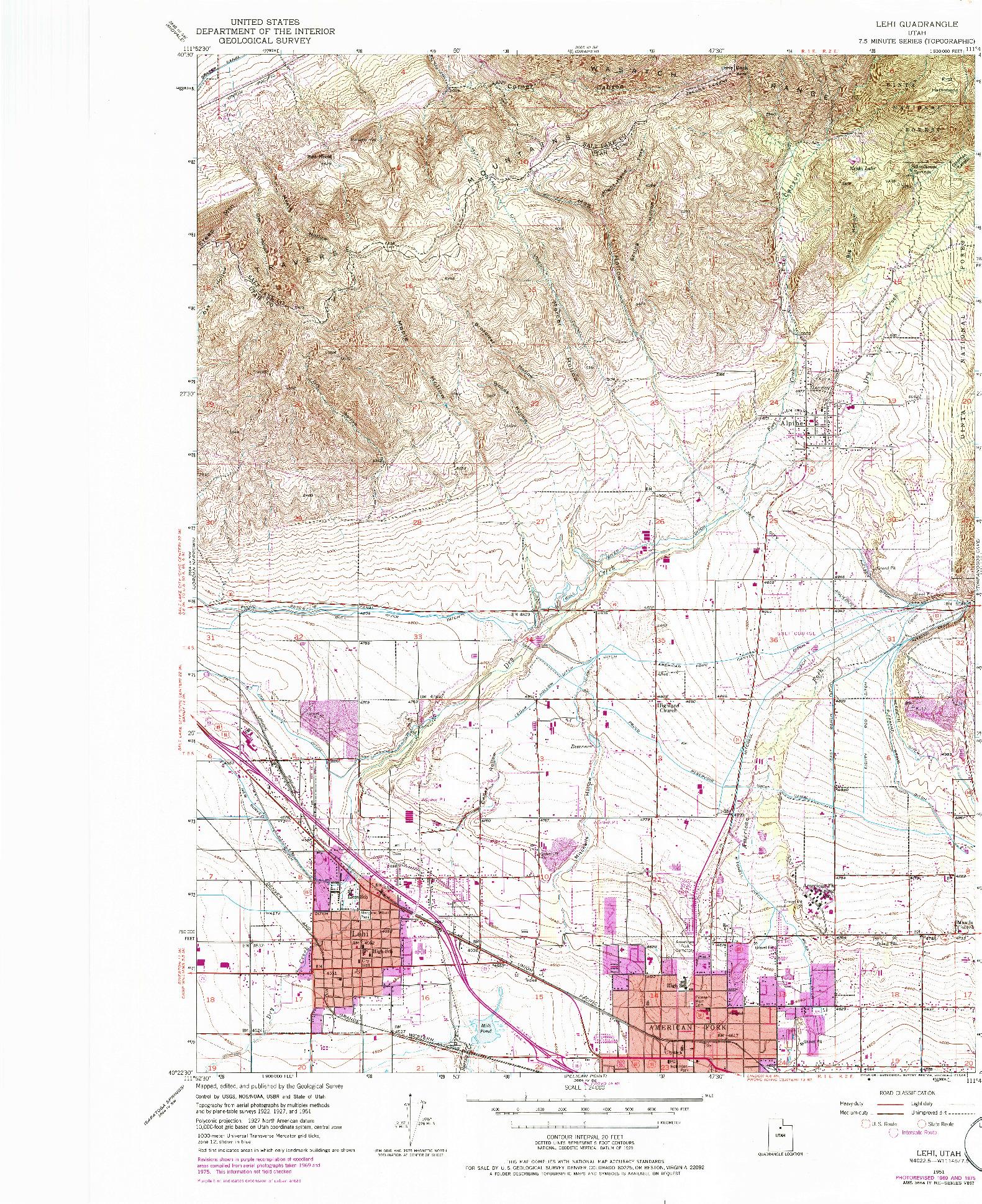 USGS 1:24000-SCALE QUADRANGLE FOR LEHI, UT 1951