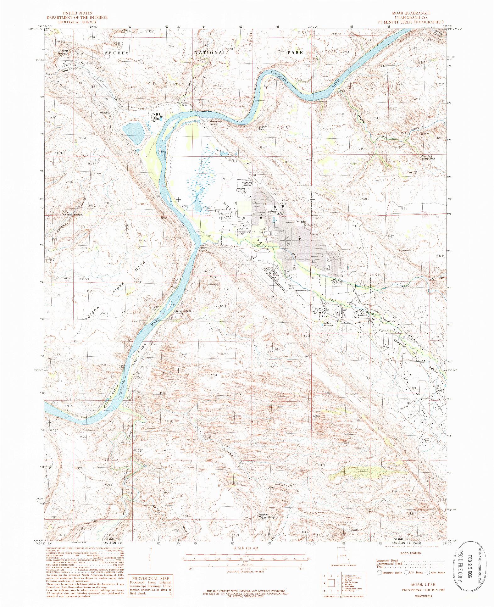 USGS 1:24000-SCALE QUADRANGLE FOR MOAB, UT 1985