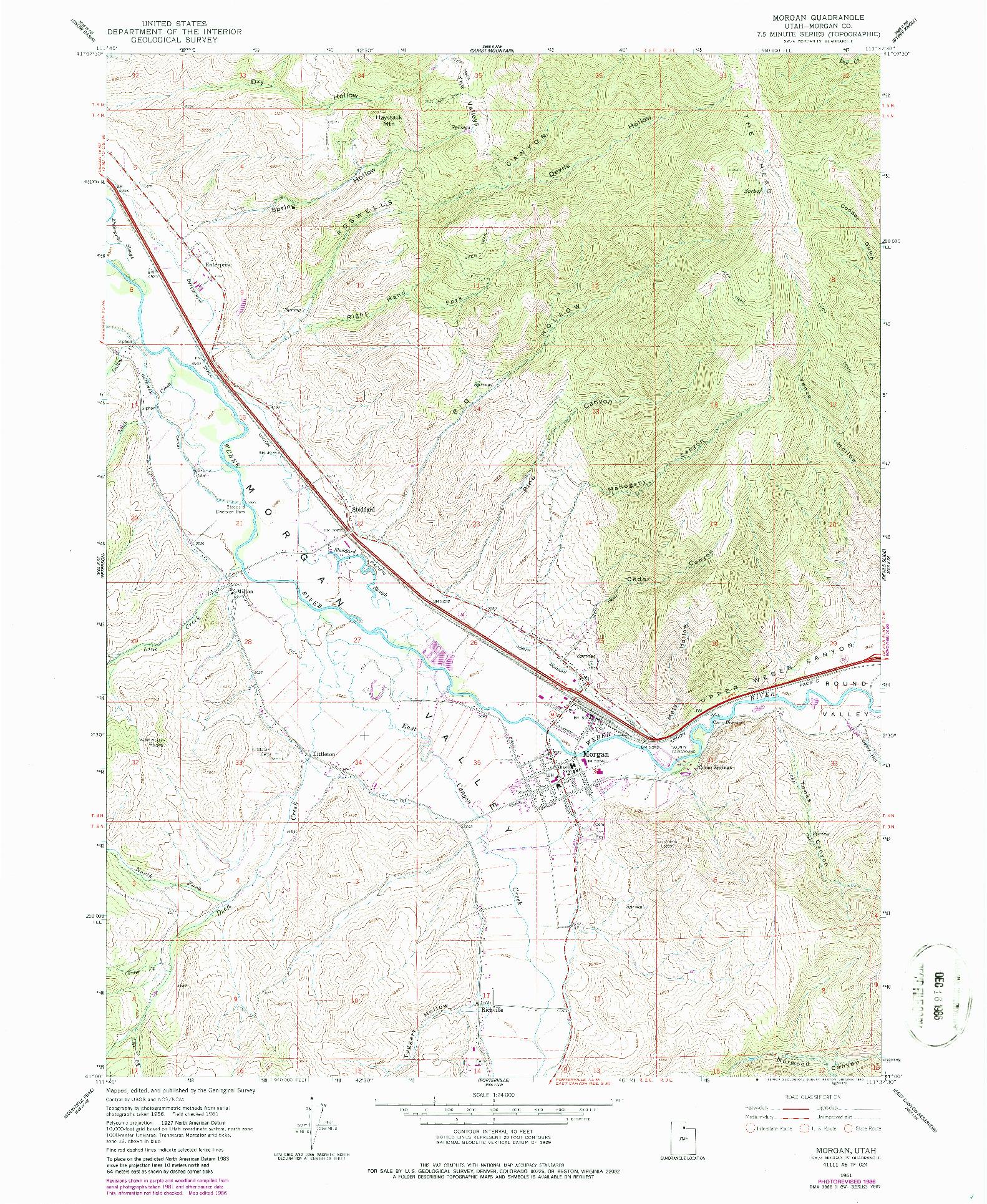USGS 1:24000-SCALE QUADRANGLE FOR MORGAN, UT 1961
