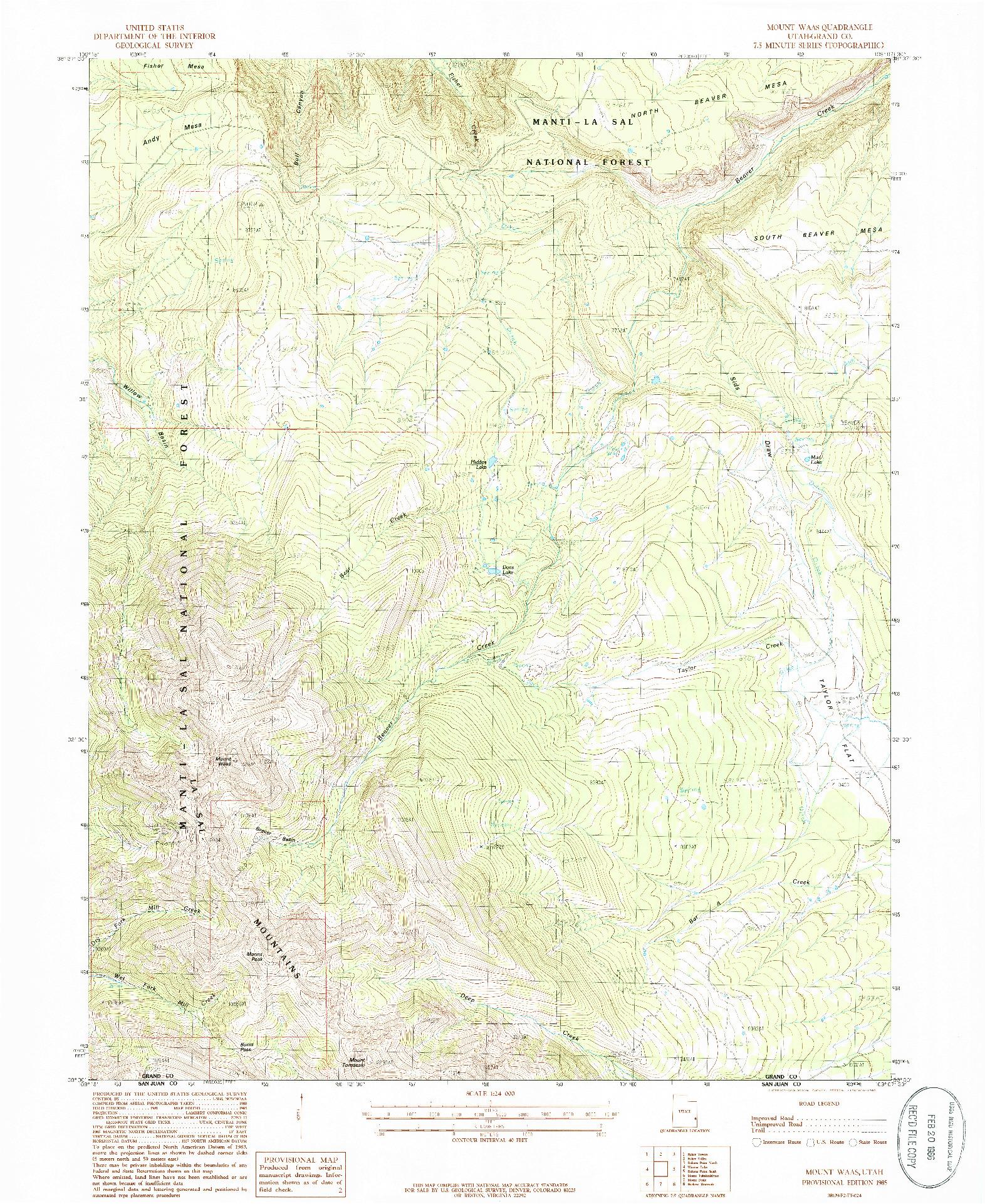 USGS 1:24000-SCALE QUADRANGLE FOR MOUNT WAAS, UT 1985