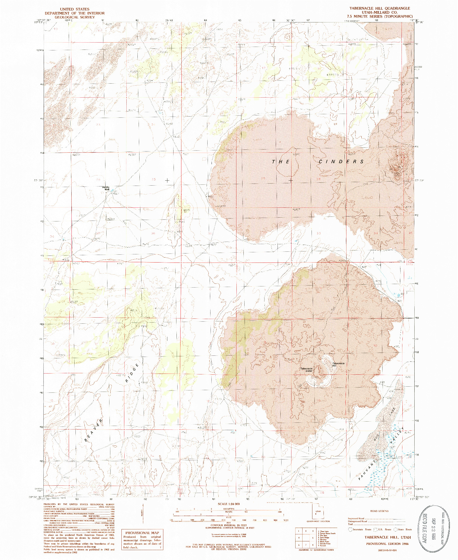 USGS 1:24000-SCALE QUADRANGLE FOR TABERNACLE HILL, UT 1986