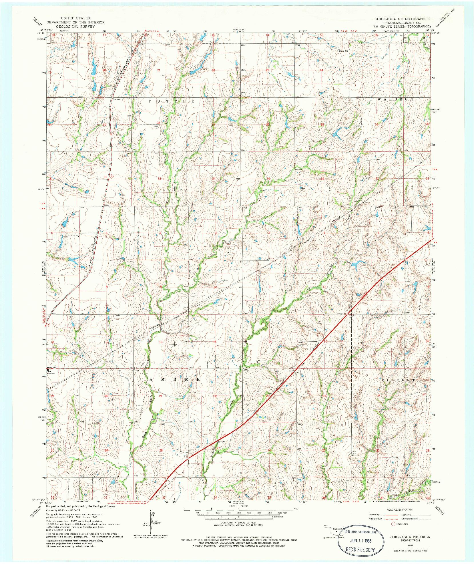 USGS 1:24000-SCALE QUADRANGLE FOR CHICKASHA NE, OK 1966