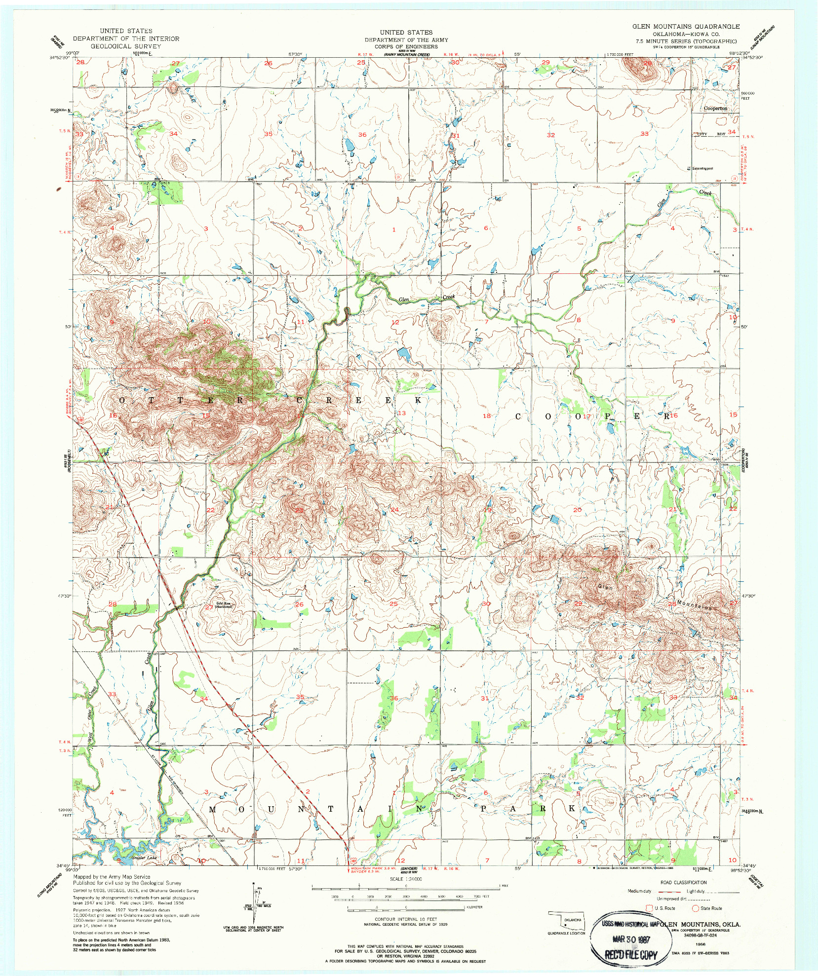 USGS 1:24000-SCALE QUADRANGLE FOR GLEN MOUNTAINS, OK 1956