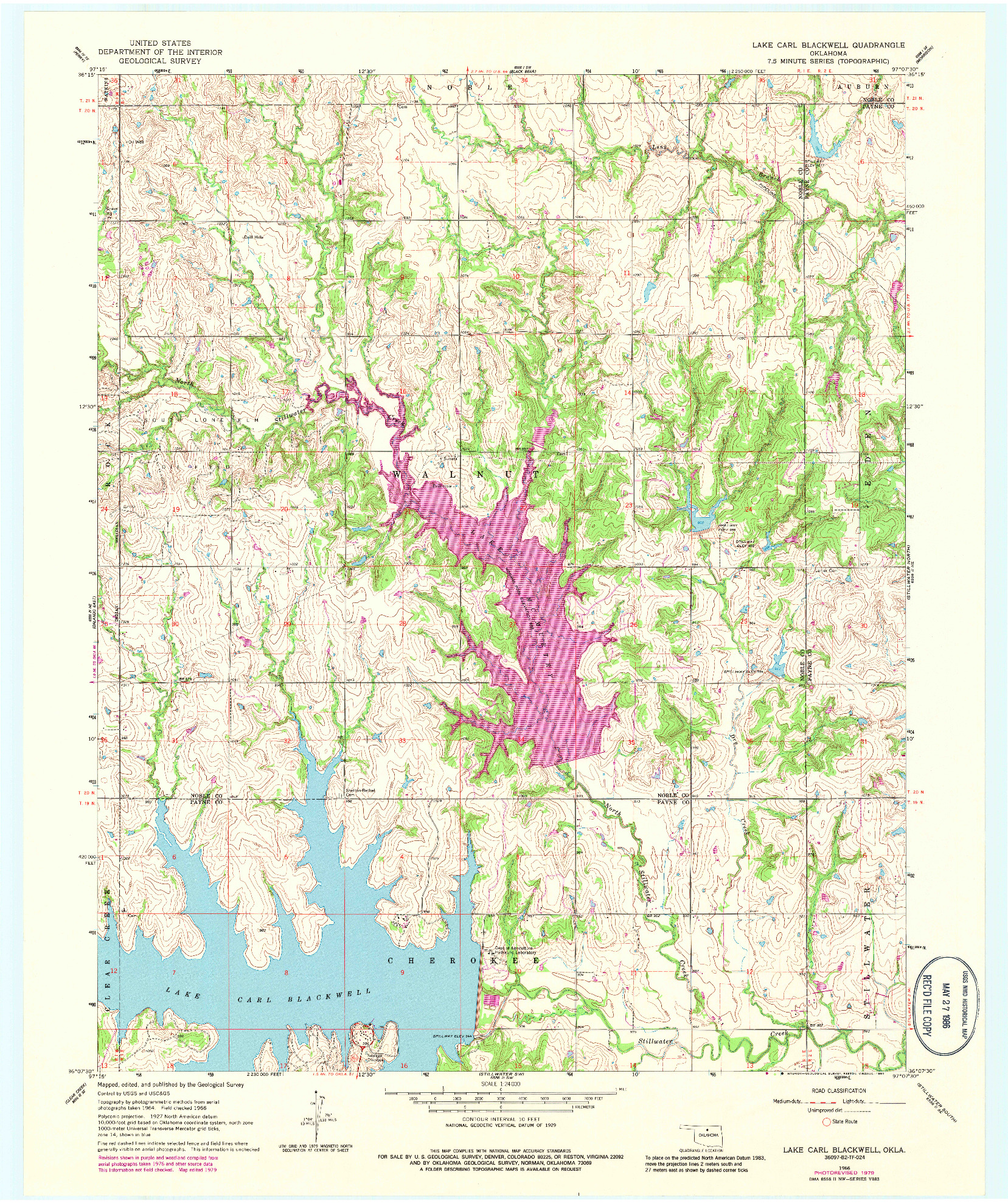 USGS 1:24000-SCALE QUADRANGLE FOR LAKE CARL BLACKWELL, OK 1966