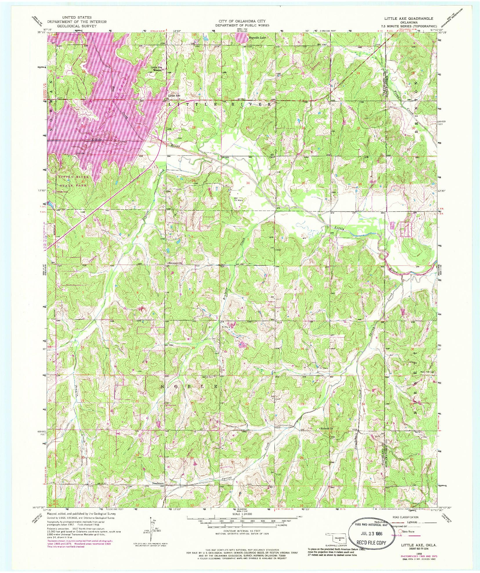 USGS 1:24000-SCALE QUADRANGLE FOR LITTLE AXE, OK 1958