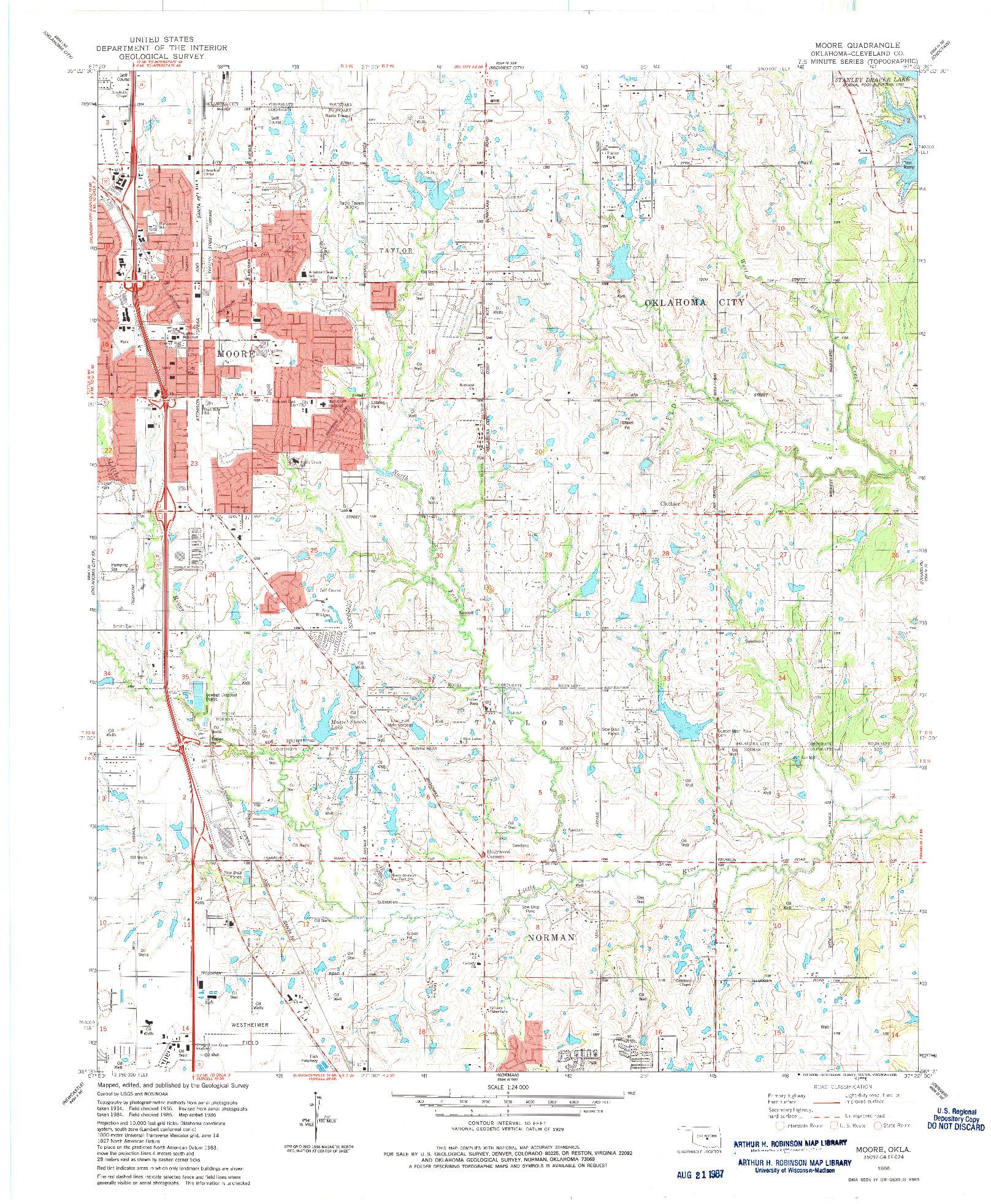 USGS 1:24000-SCALE QUADRANGLE FOR MOORE, OK 1986