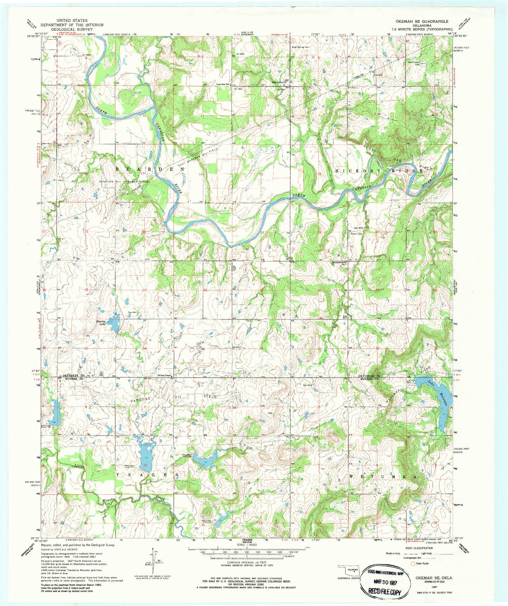 USGS 1:24000-SCALE QUADRANGLE FOR OKEMAH SE, OK 1967
