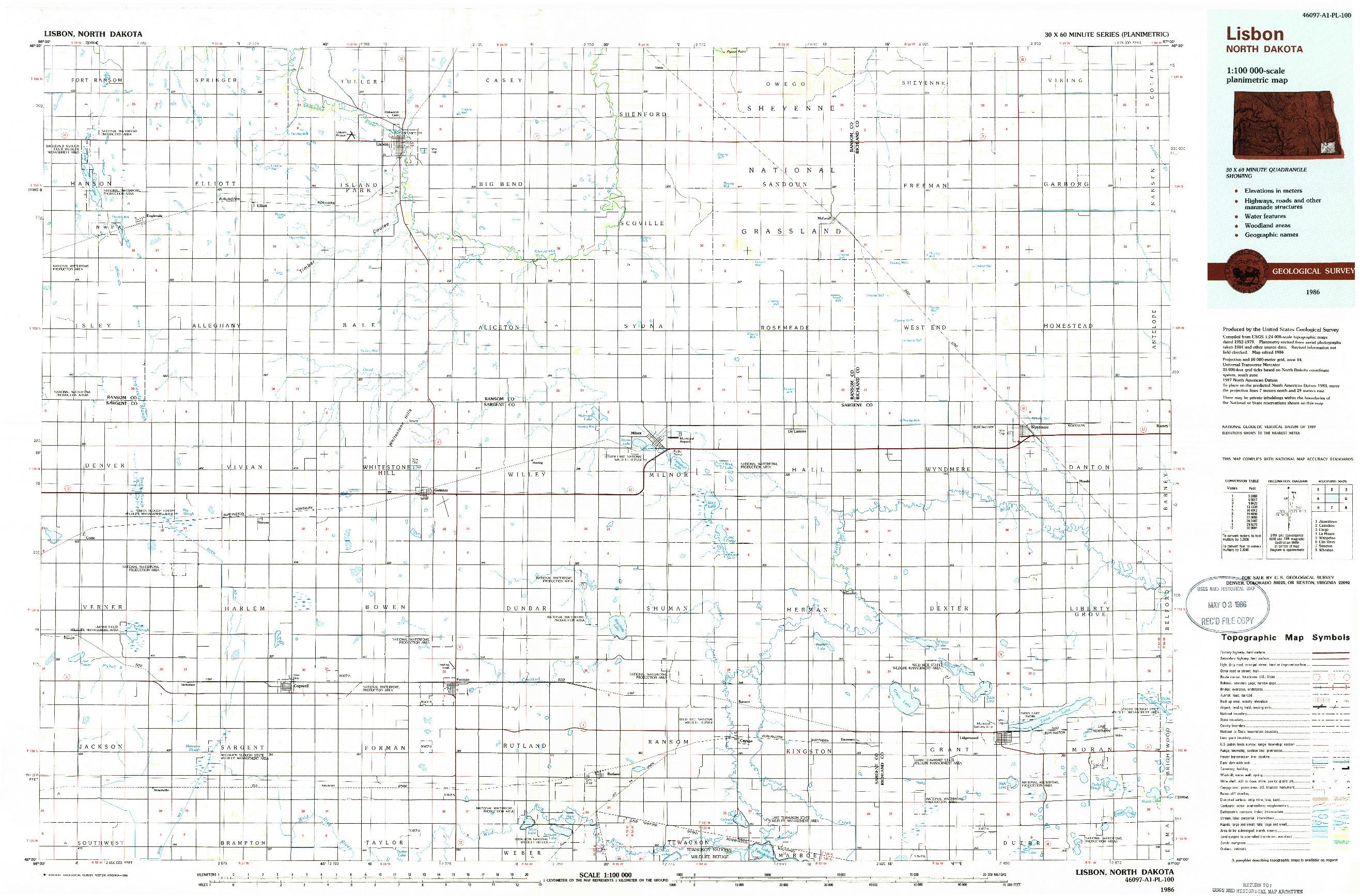 USGS 1:100000-SCALE QUADRANGLE FOR LISBON, ND 1986