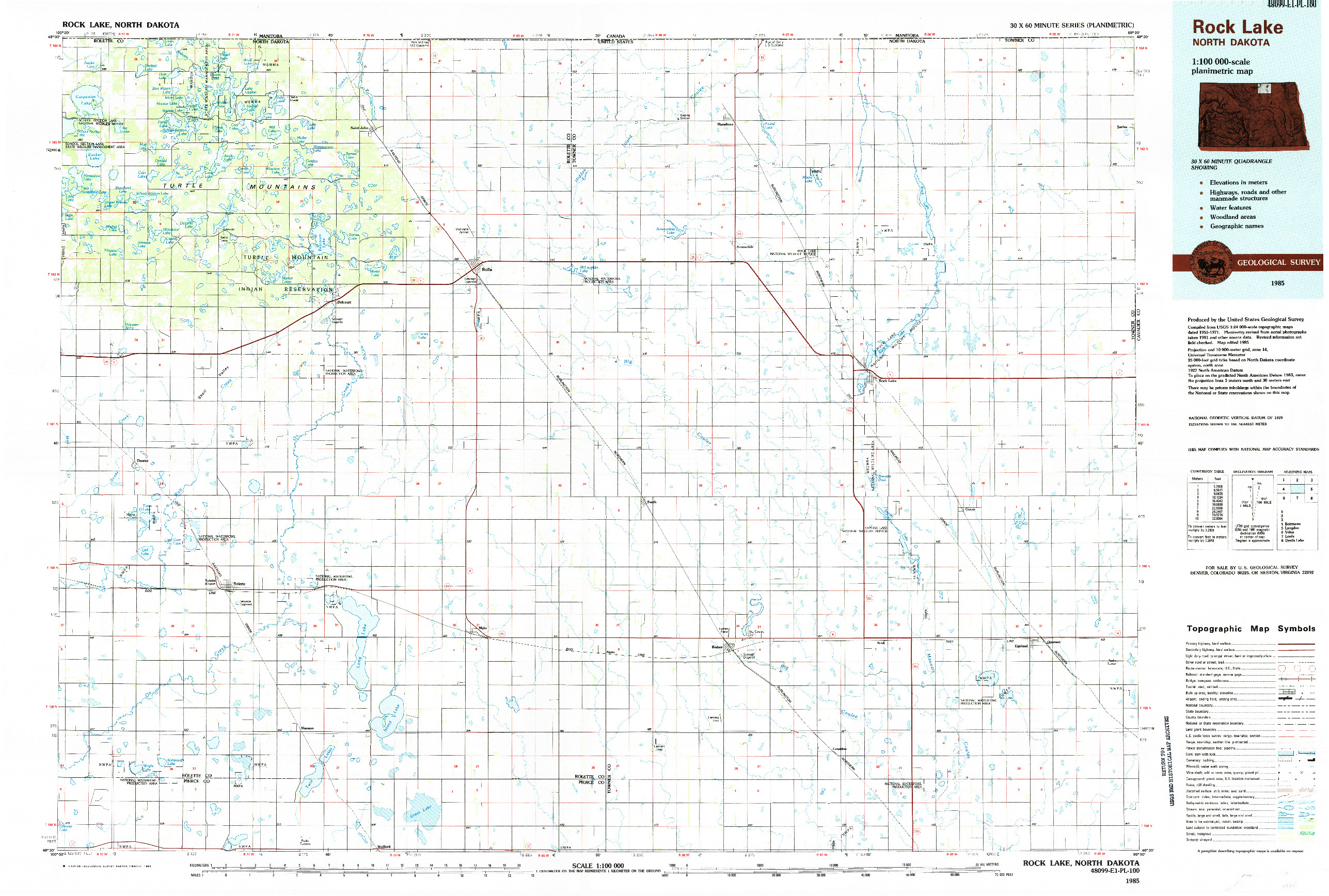 USGS 1:100000-SCALE QUADRANGLE FOR ROCK LAKE, ND 1985