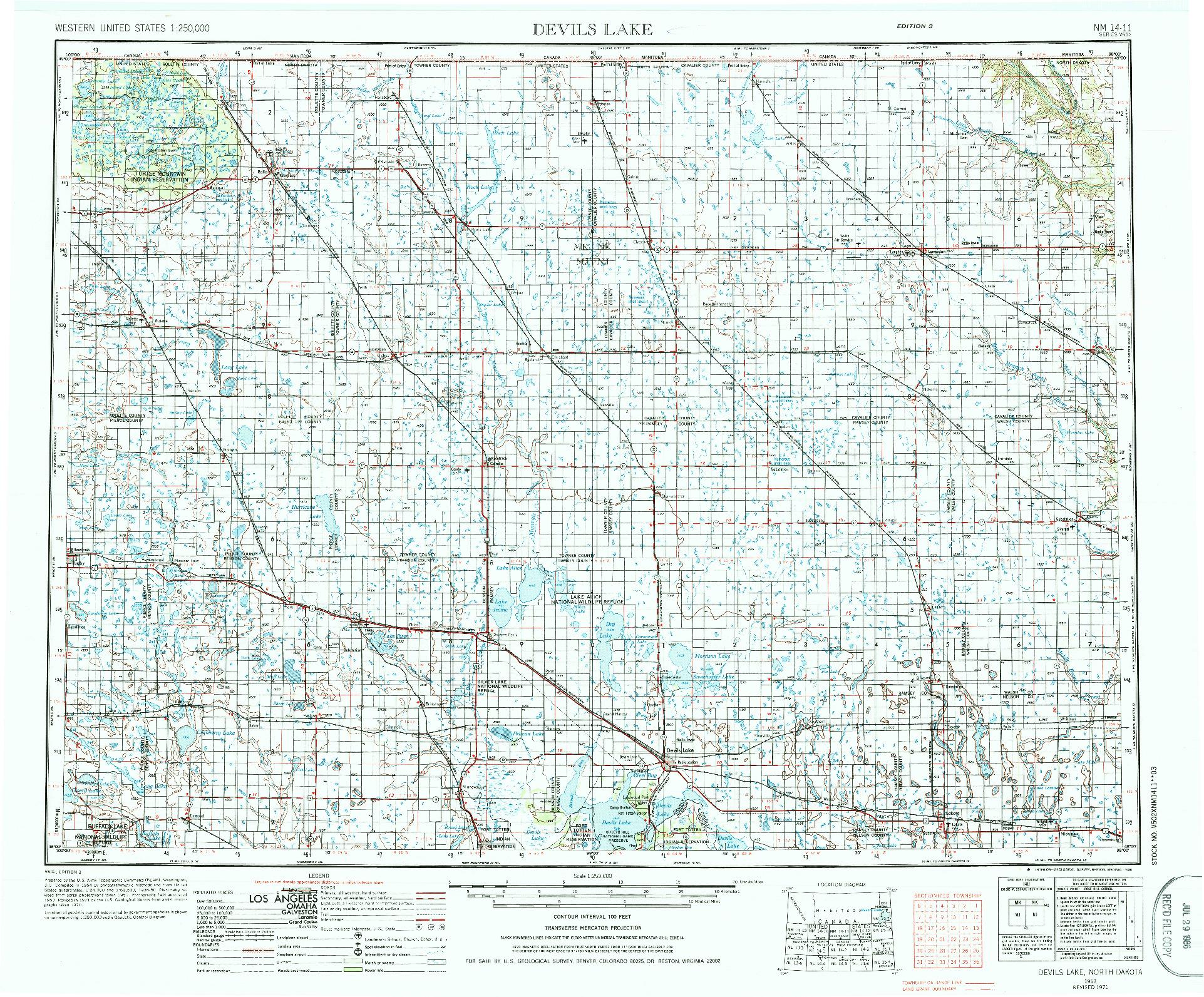 USGS 1:250000-SCALE QUADRANGLE FOR DEVILS LAKE, ND 1953