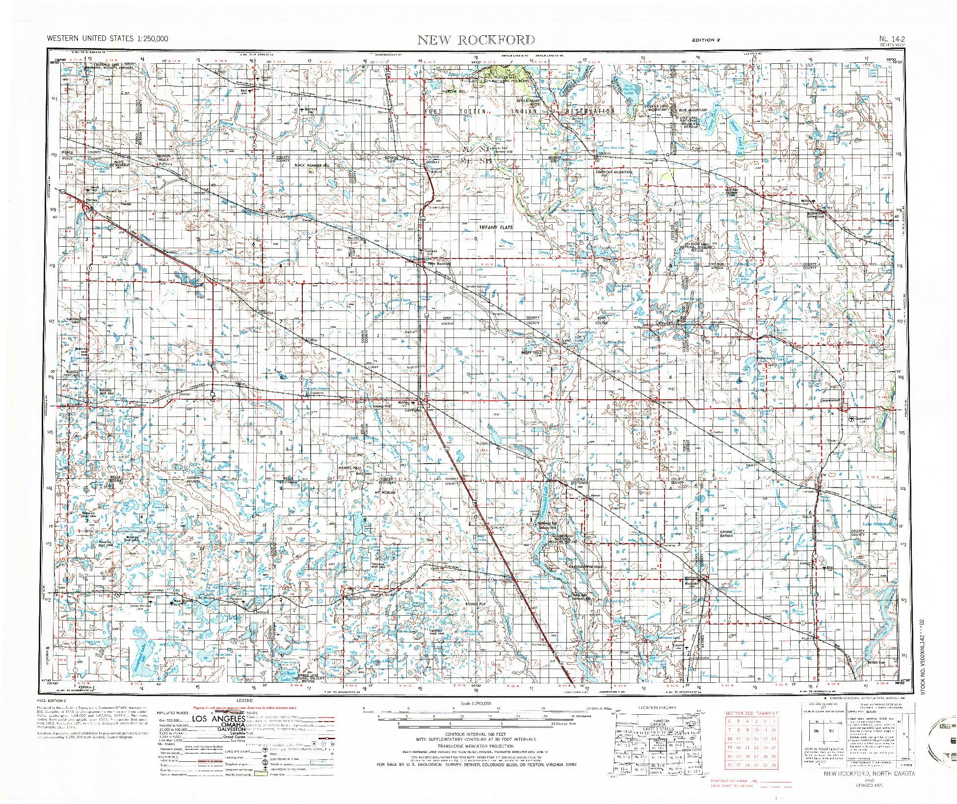 USGS 1:250000-SCALE QUADRANGLE FOR NEW ROCKFORD, ND 1952